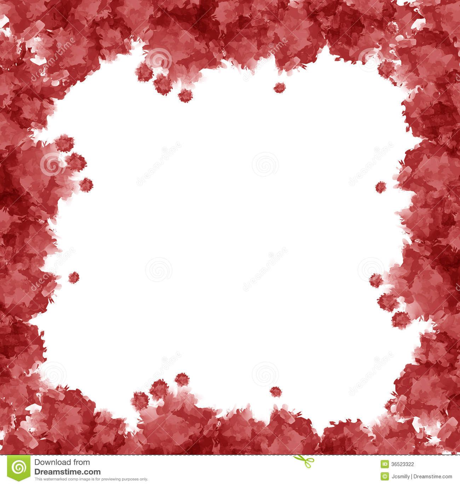 Красная рамка акварели