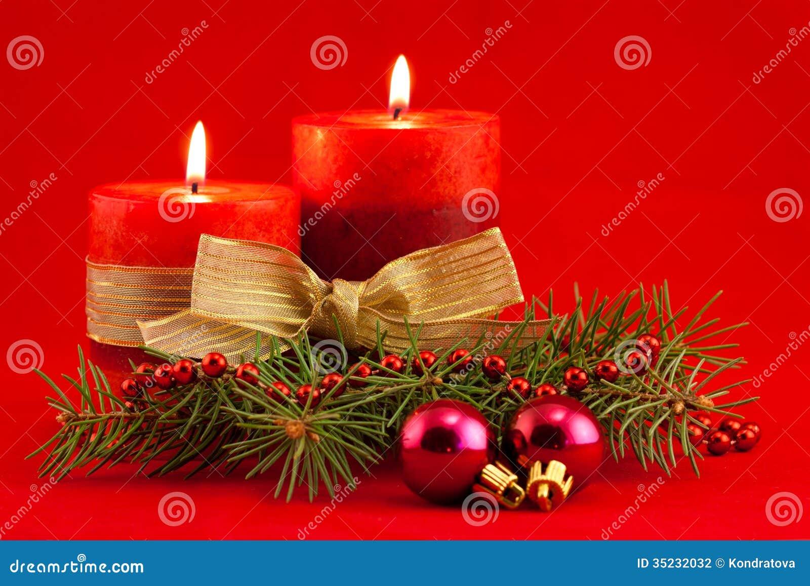Красная свеча с деревом xmas