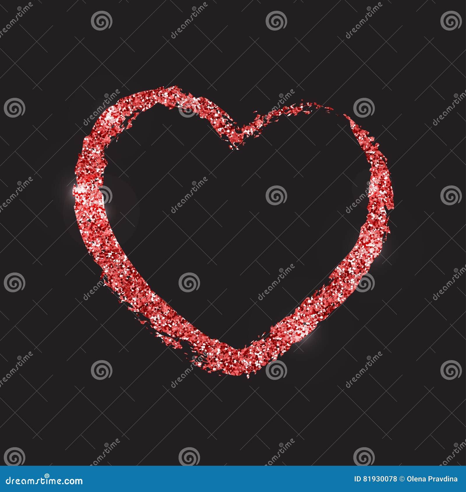 Красная сияющая форма brushstroke сердца Текстура яркого блеска Te вектора