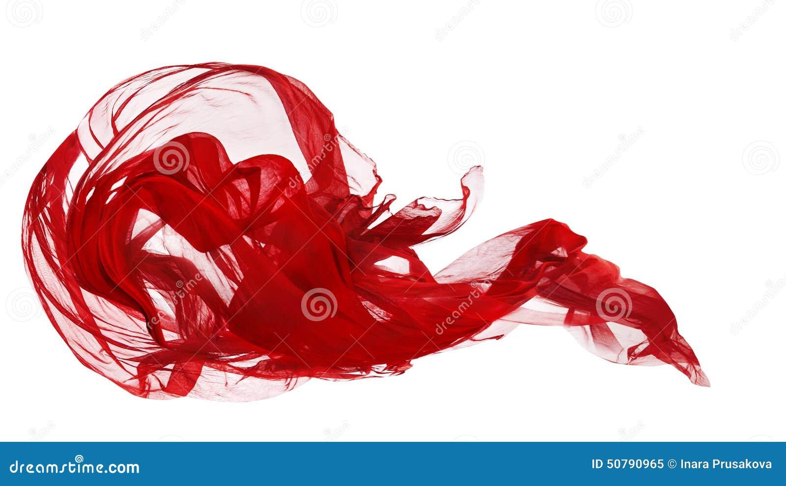 Красная ткань изолированная над белой предпосылкой, движением замораживания ткани, развевая тканью летания