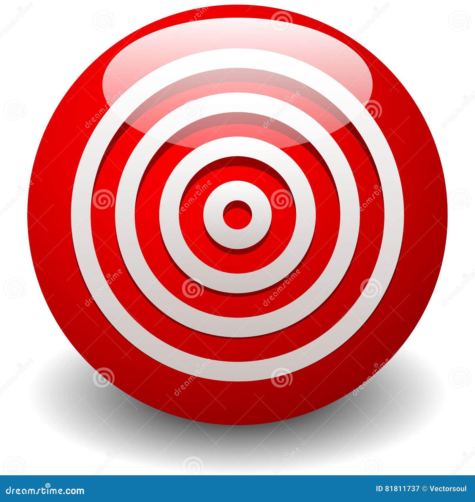 Красная цель, яблочко, точность, значок точности - концентрическое circ