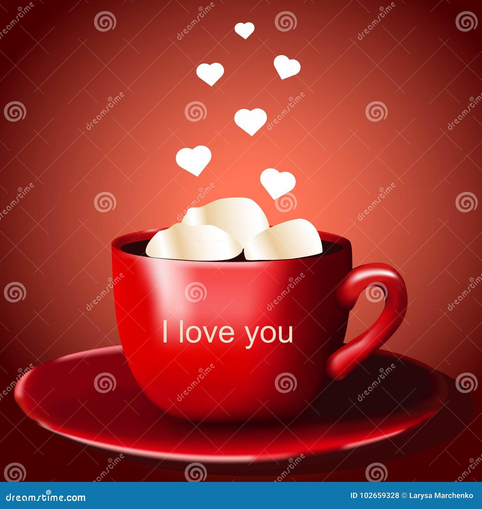Красная чашка с какао и зефиром