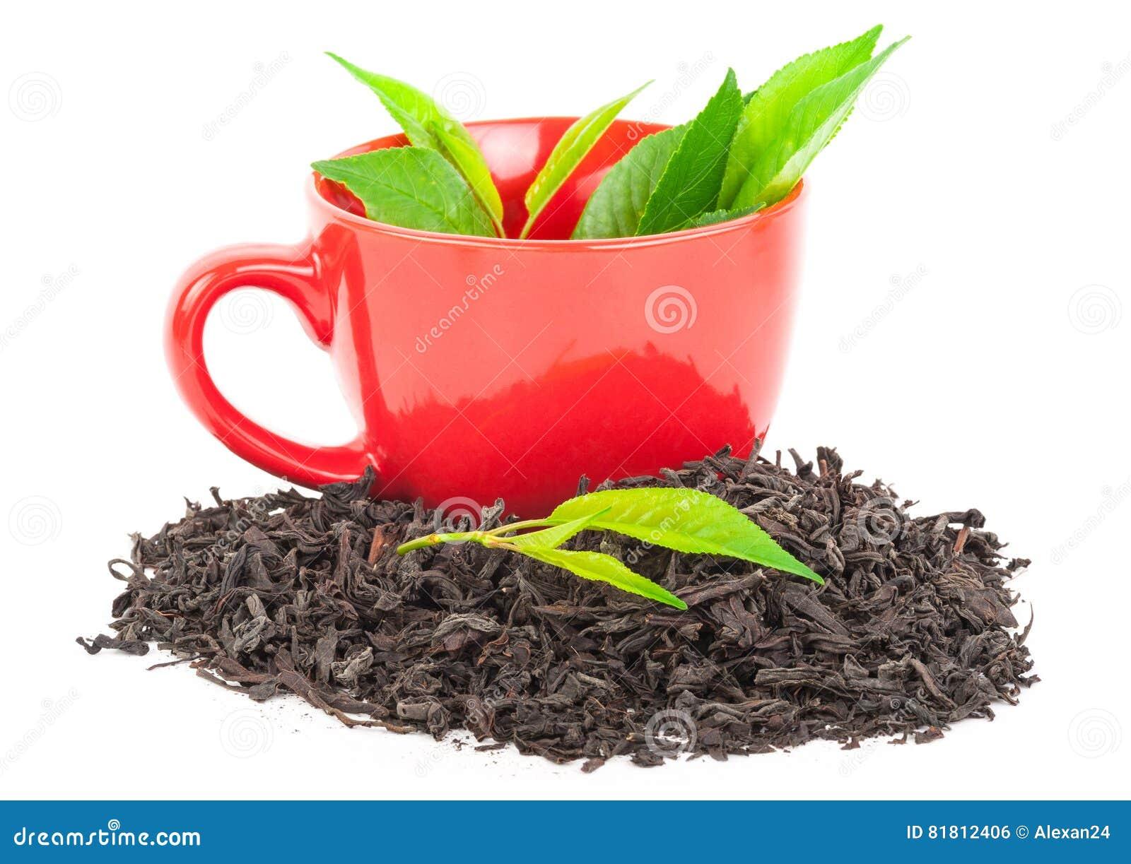 Красная чашка чаю с листьями