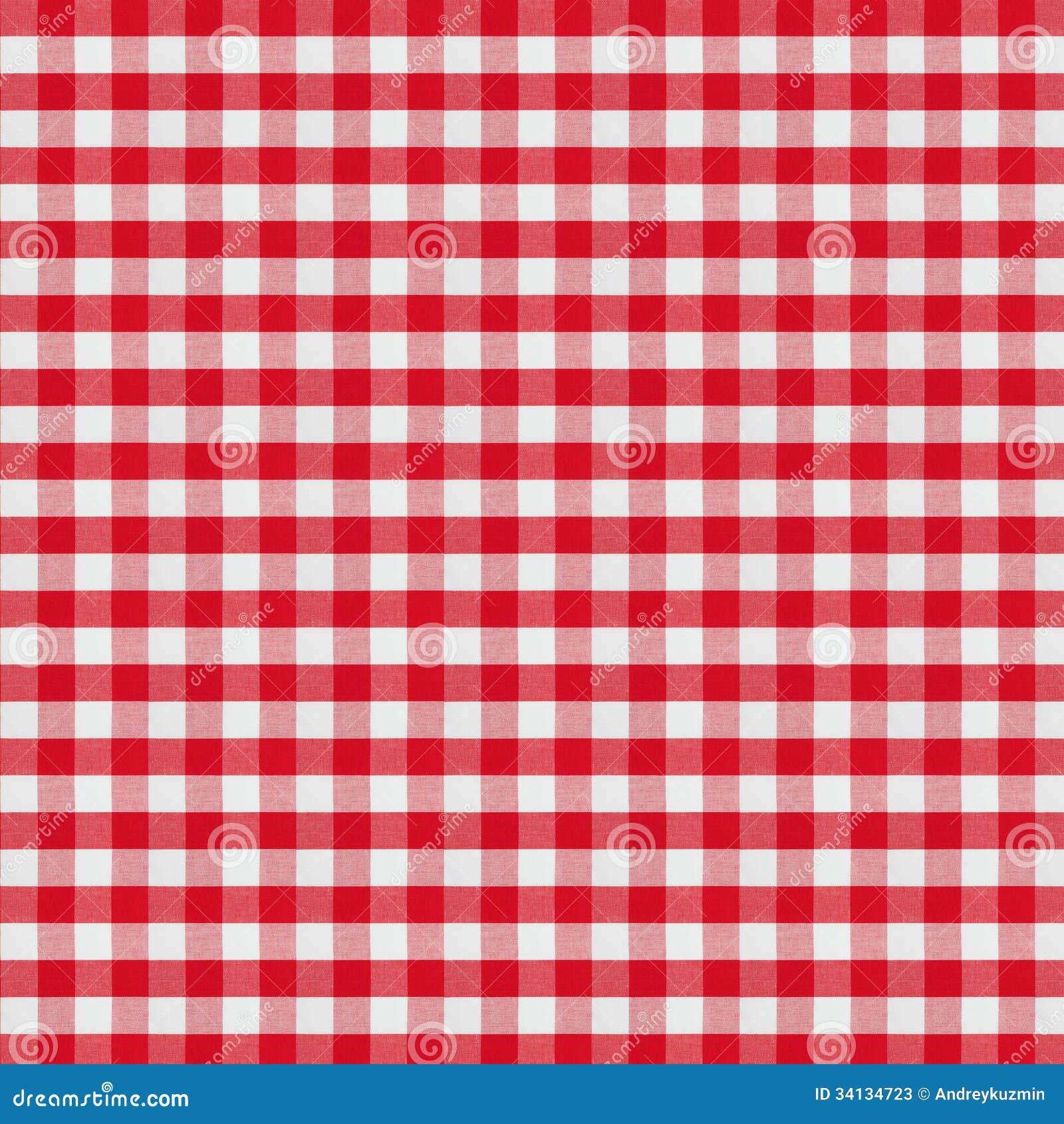 Красная checkered скатерть ткани