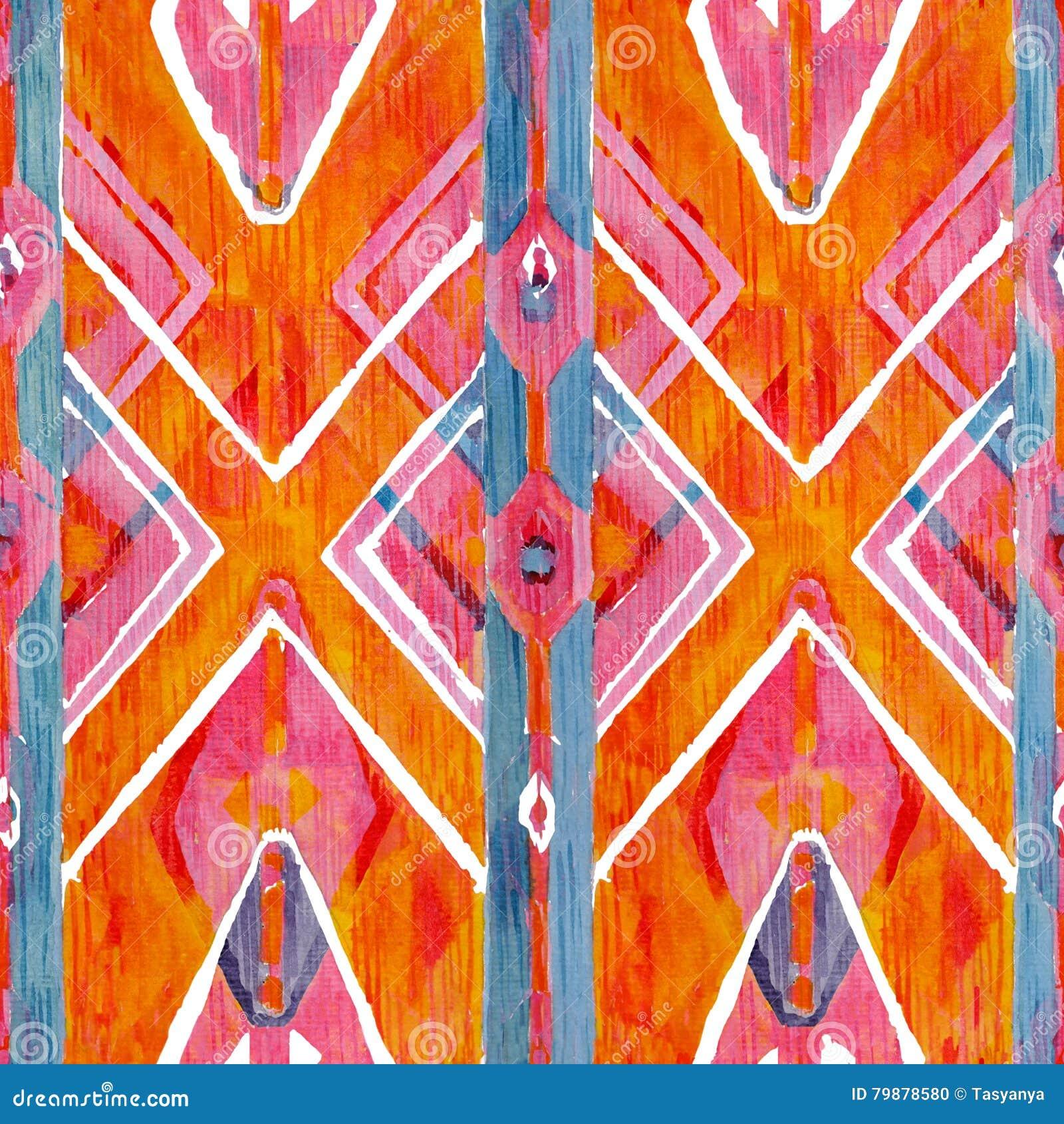 Красная Ikat геометрическая и оранжевая подлинная картина в стиле watercolour Акварель безшовная
