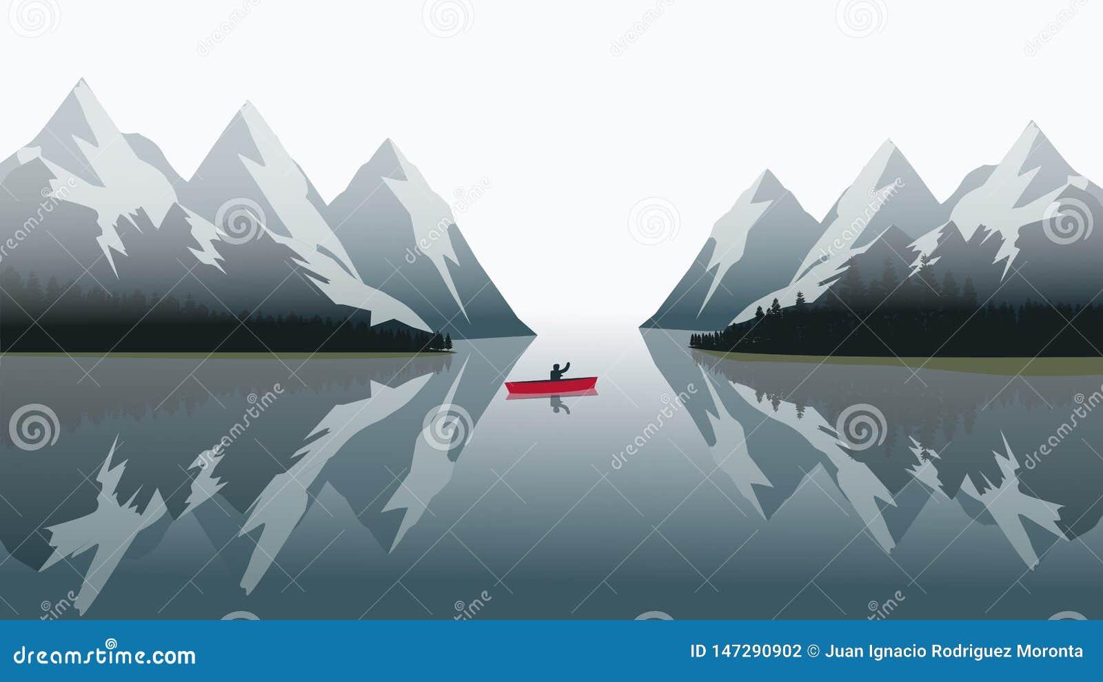 Красное плавание каноэ на голубом озере