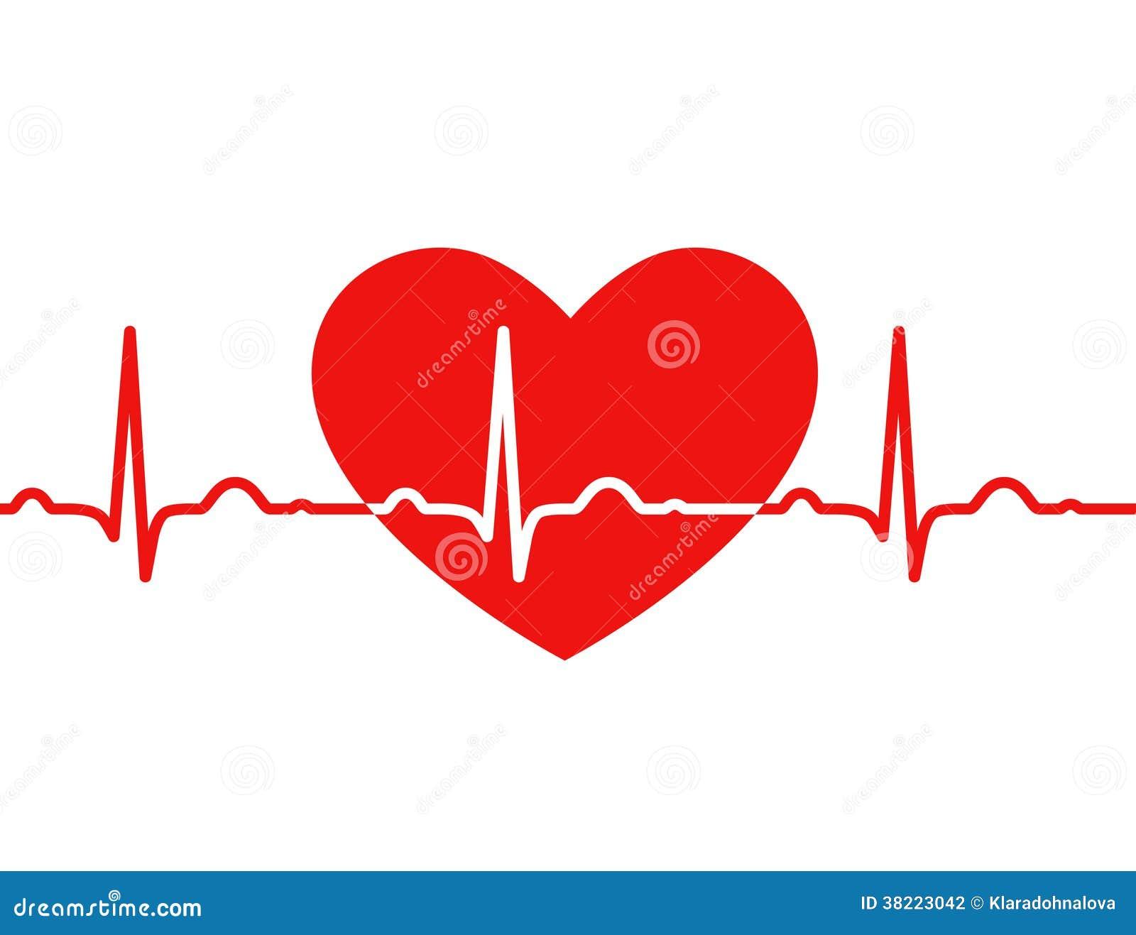 Красное сердце с ekg на бело- медицинском дизайне