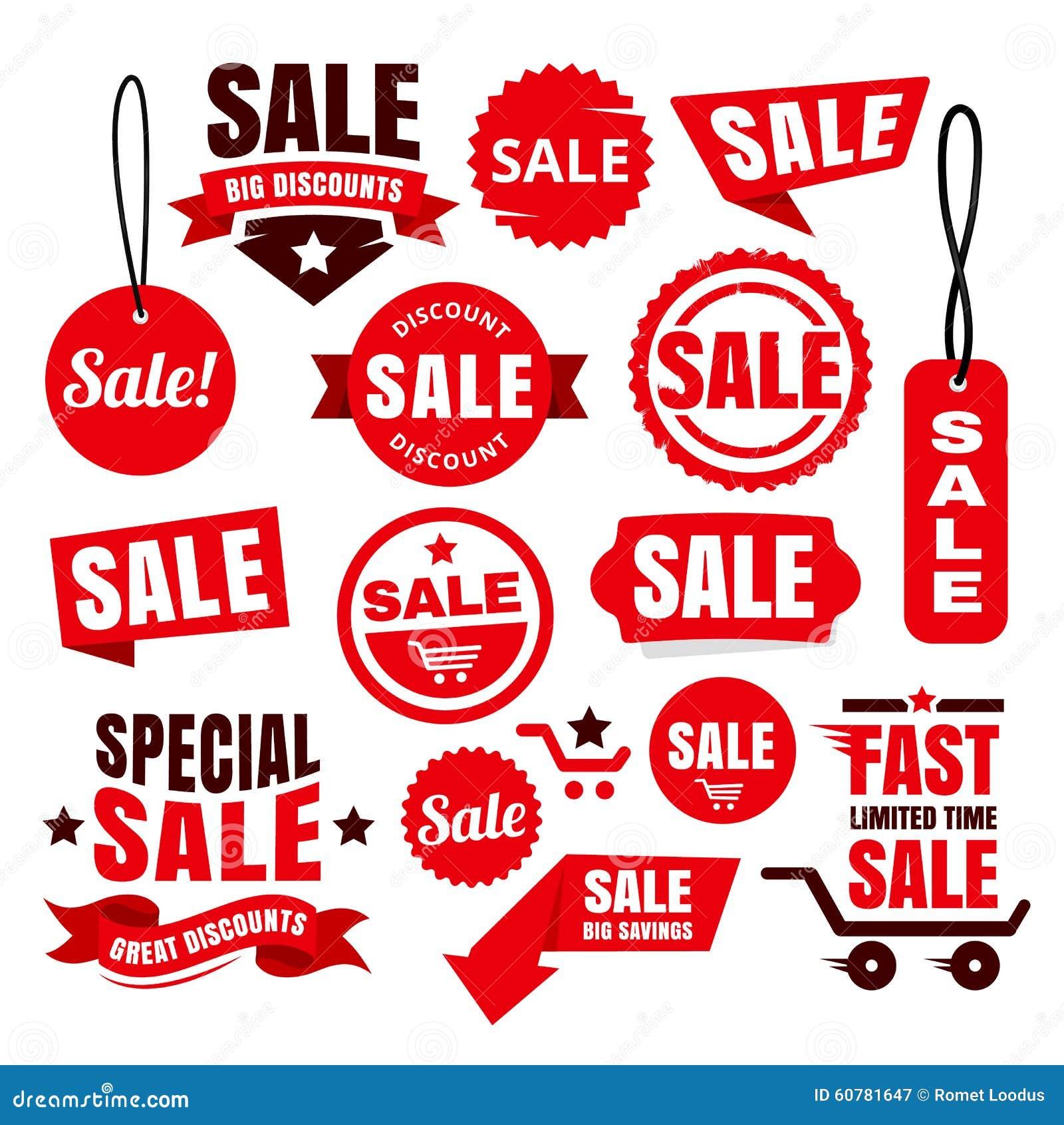 Красные бирки, значки и ленты продажи скидки