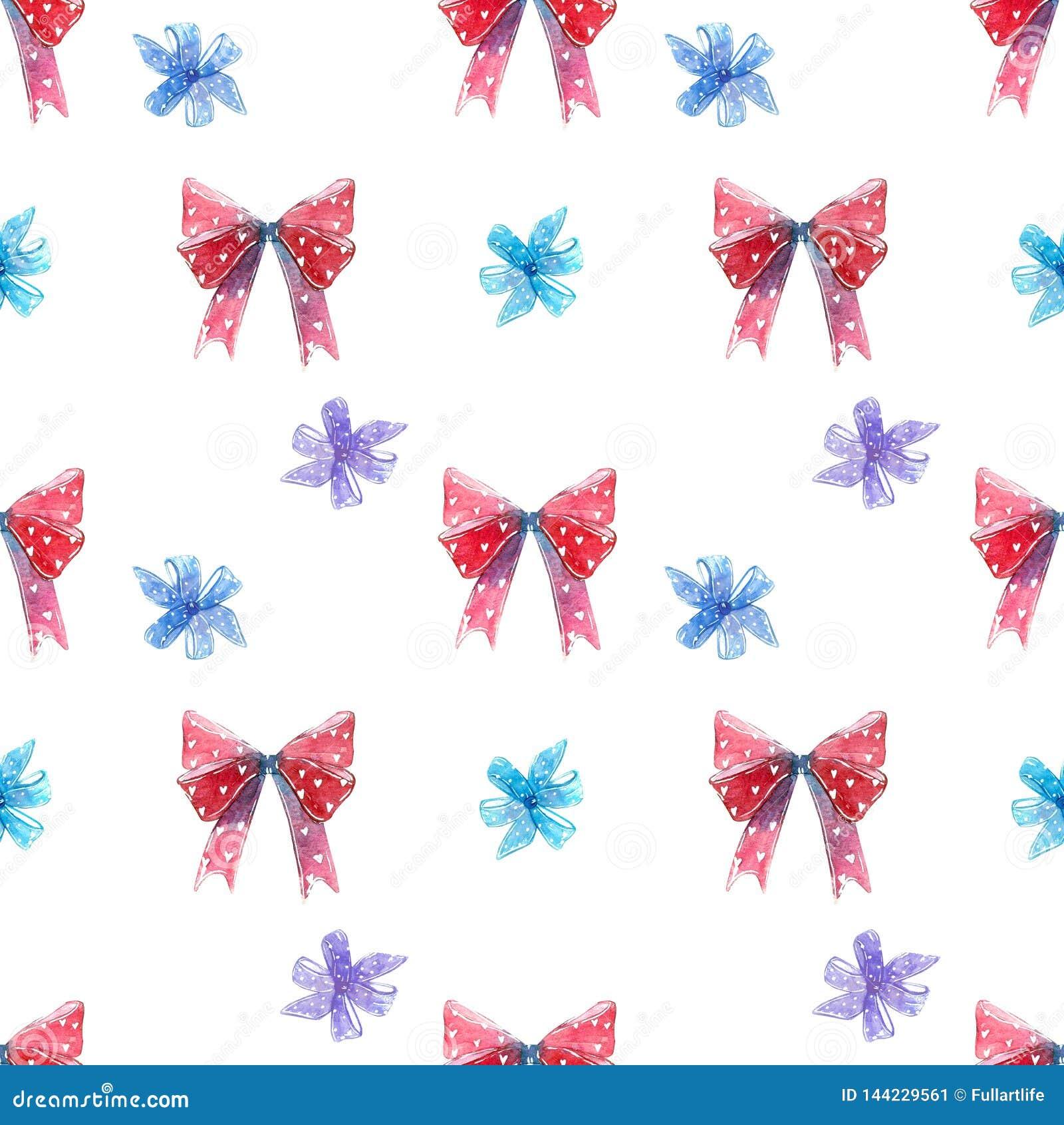 Красные и голубые смычки, высасыватель леденца на палочке свирли с картиной сердец безшовной