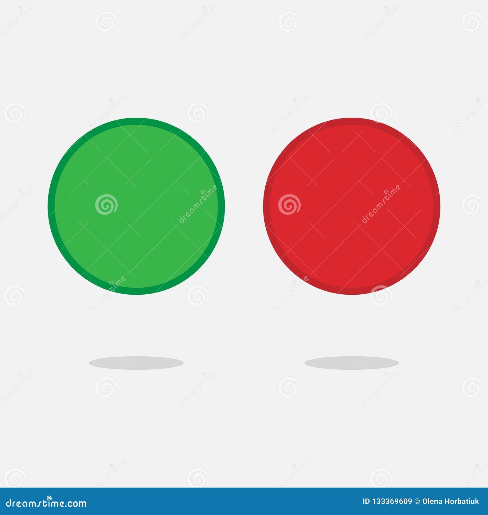 Красные и зеленые сияющие кнопки 3d Круглые стеклянные значки сети с рамкой хрома Иллюстрация вектора 3D изолированная на белой п