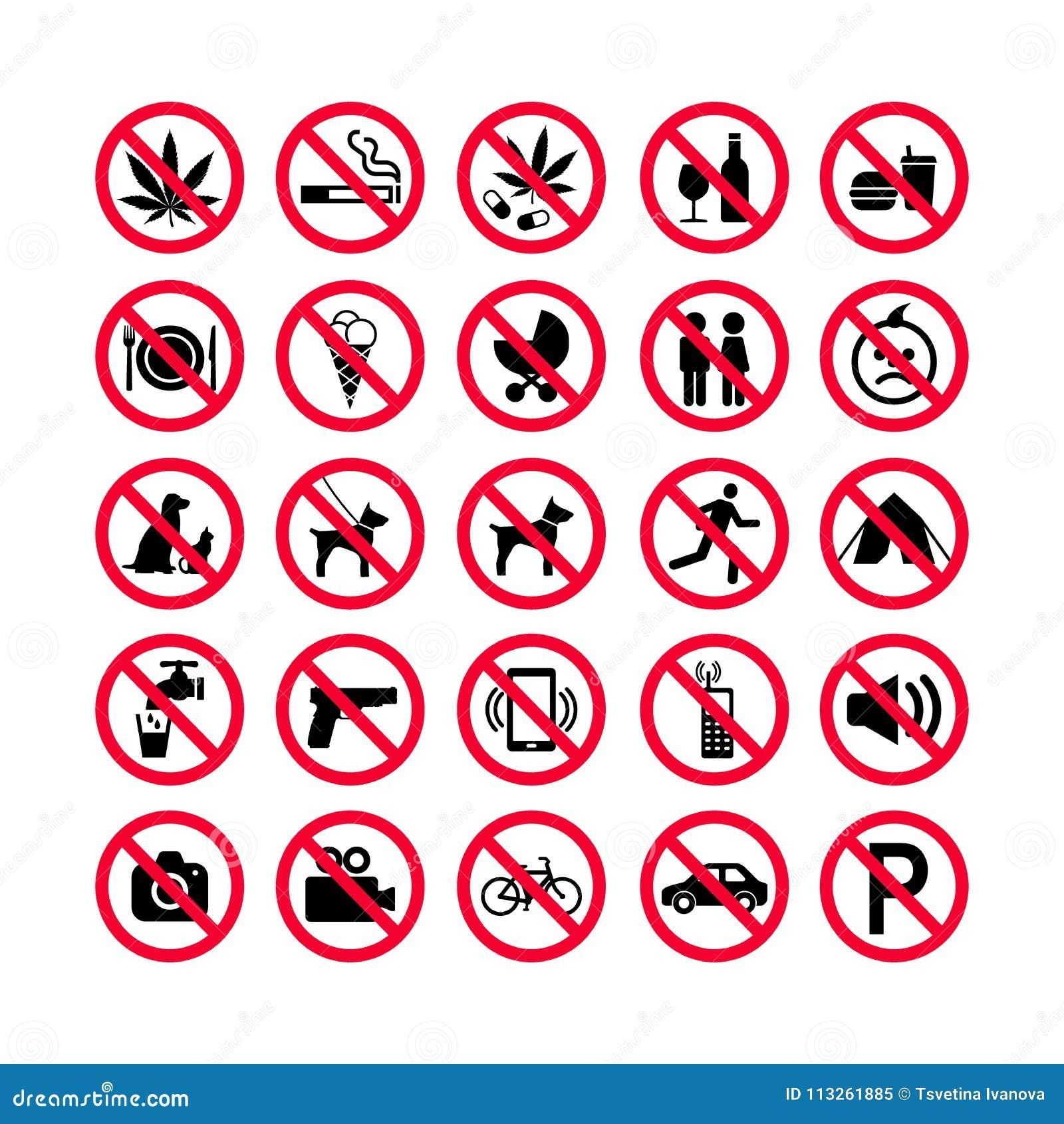 Красные установленные значки запрета Знаки запрета Запрещенные значки знака