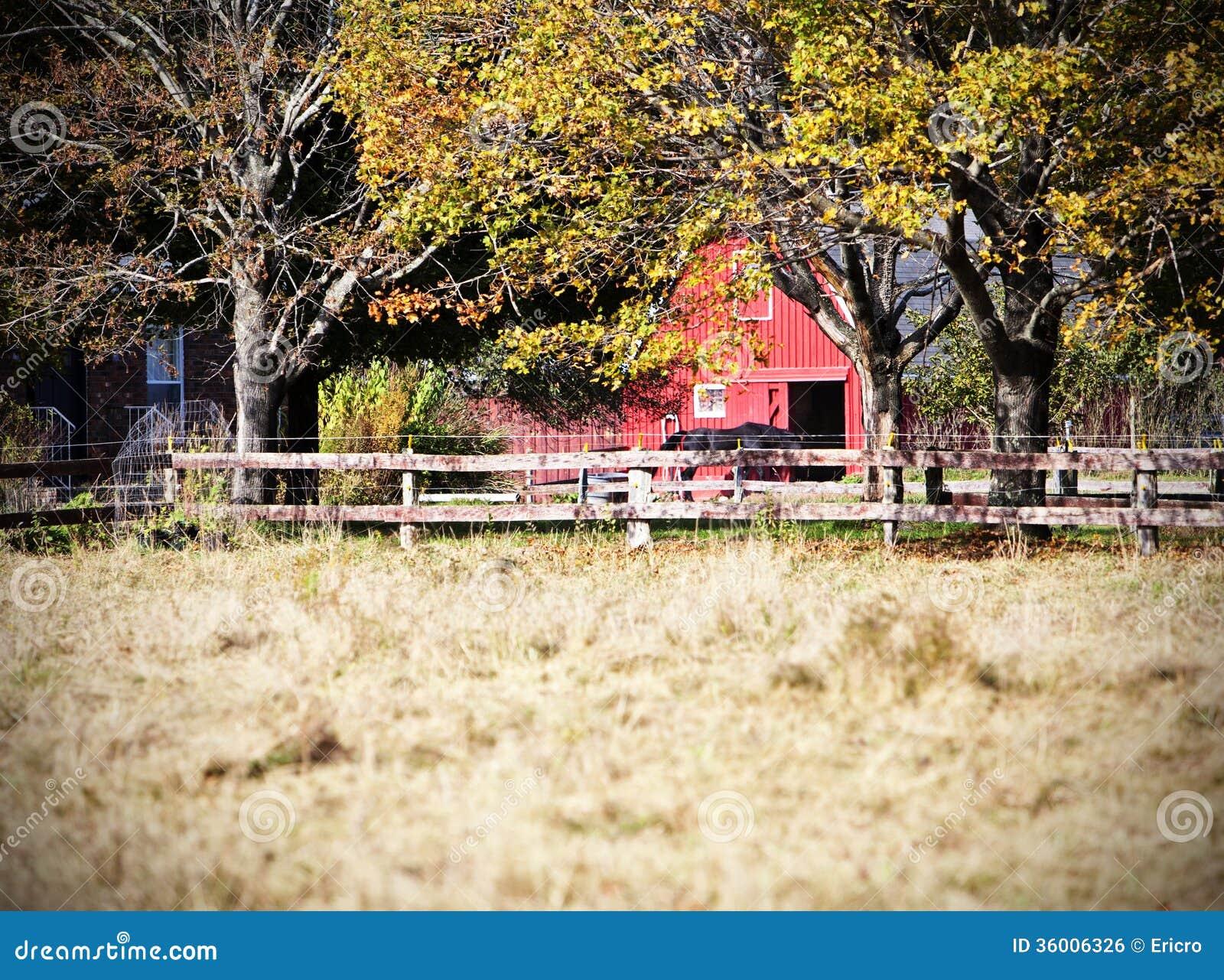 Красный амбар с лошадью