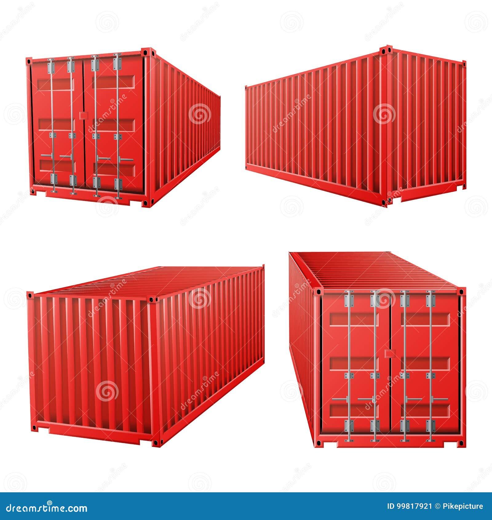 красный вектор грузового контейнера 3D Классический грузовой контейнер Концепция доставки перевозки Снабжение, насмешка транспорт