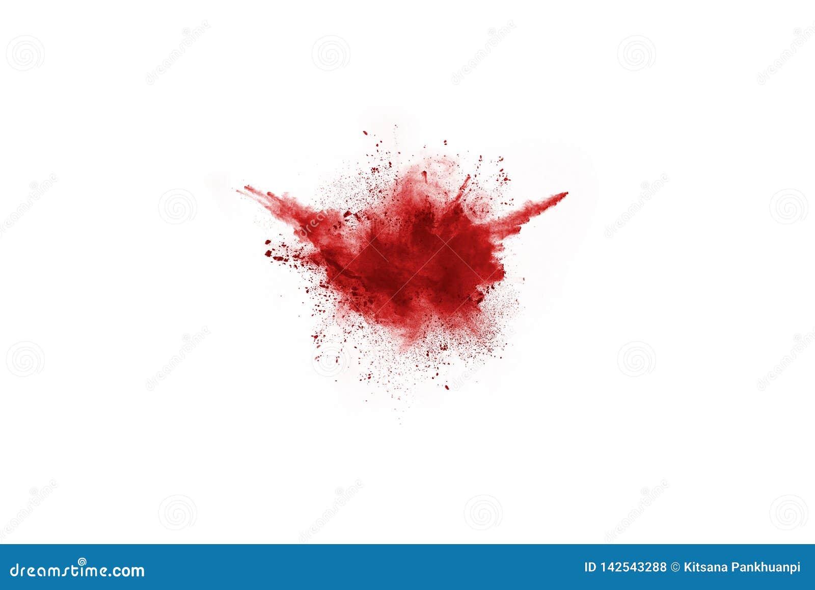 Красный взрывать порошка, изолированный на белой предпосылке