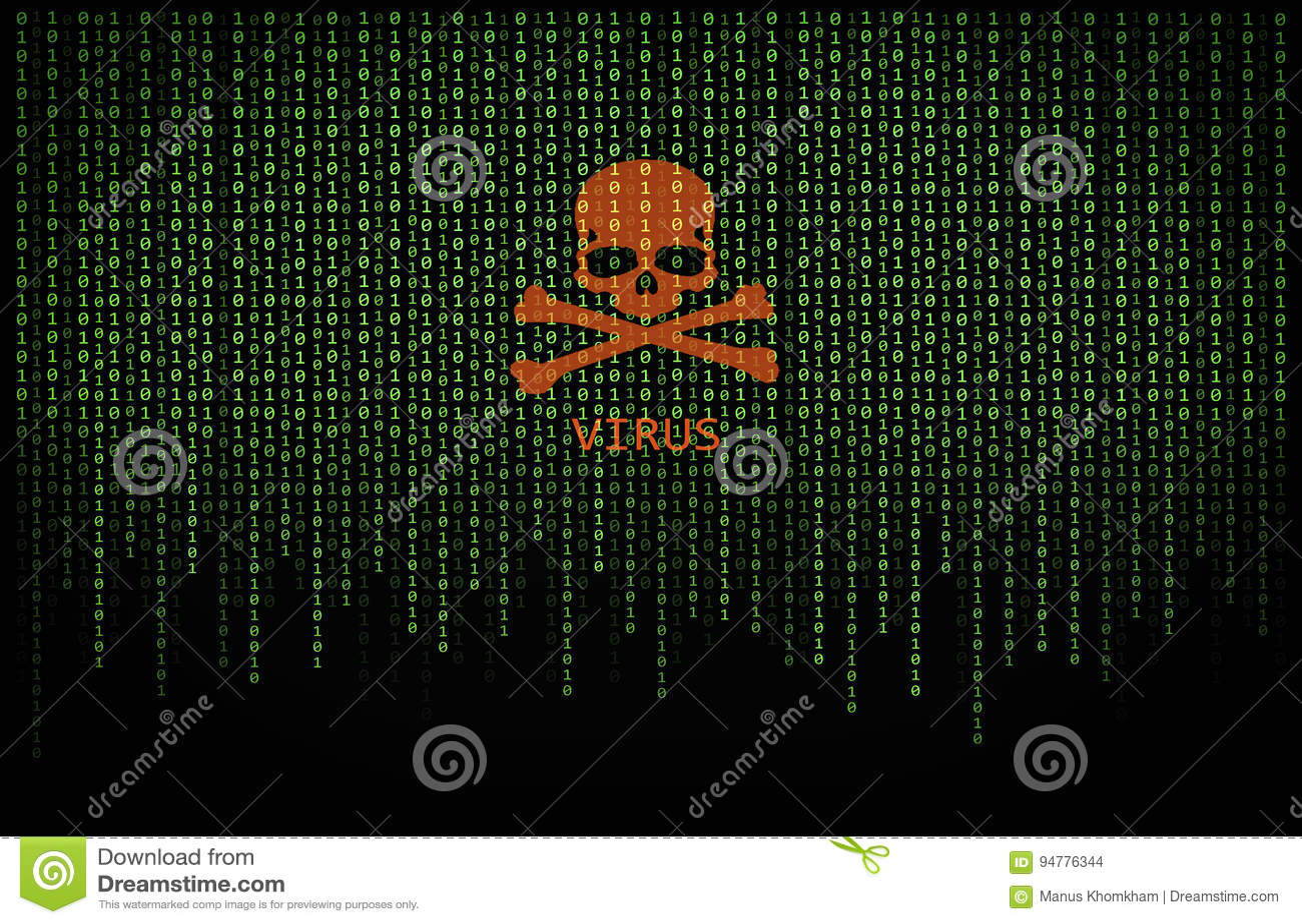 Красный вирус черепа на компьютерном коде двоичной вычислительной машины