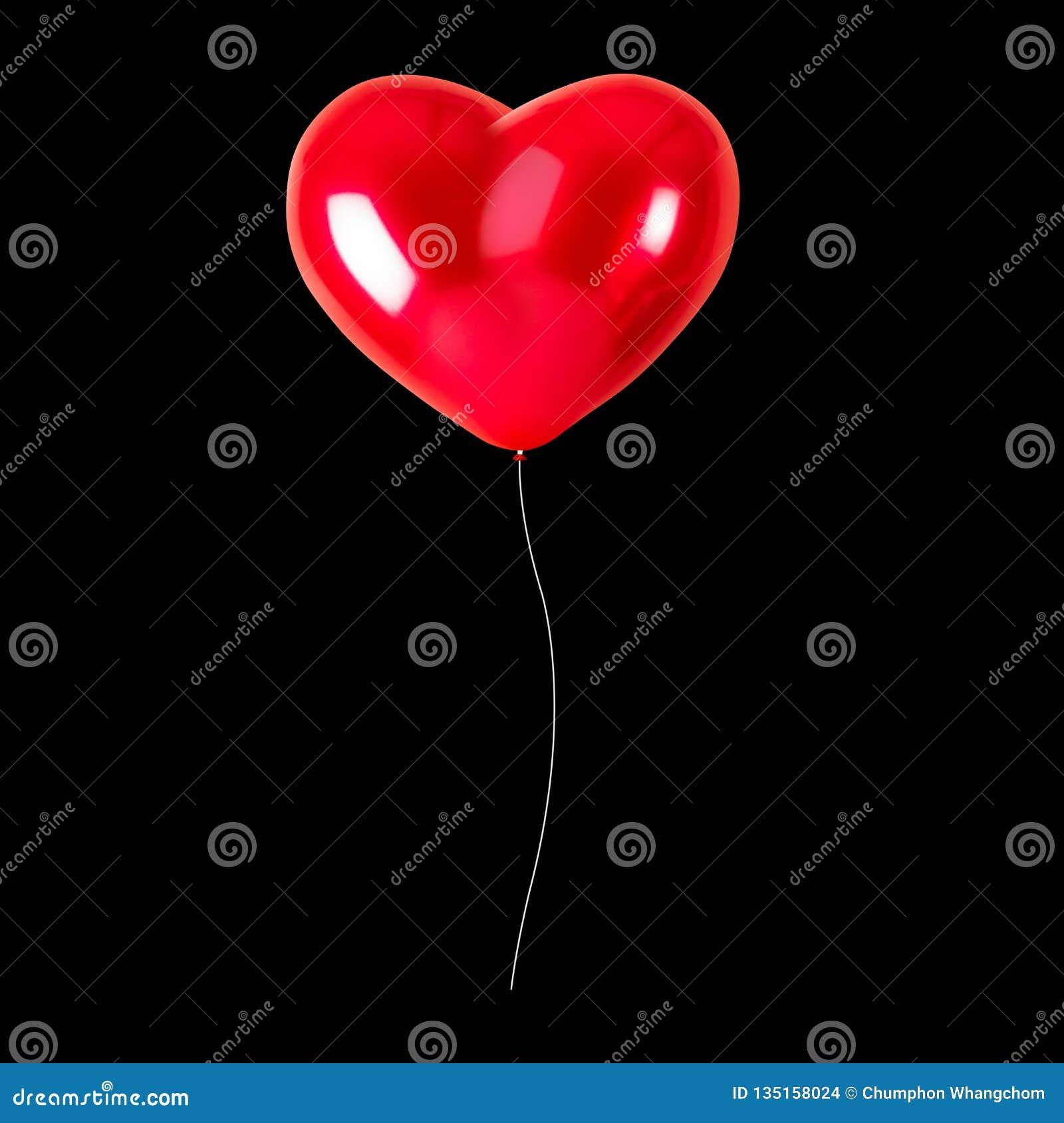Красный воздушный шар сердца изолированный на черной предпосылке Украшения партии