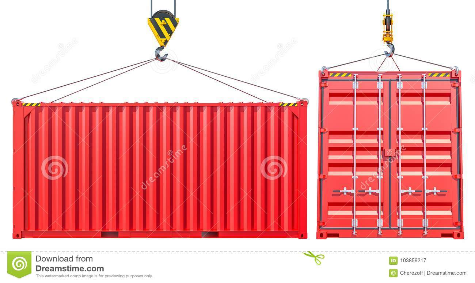 Красный грузовой контейнер доставки с крюком