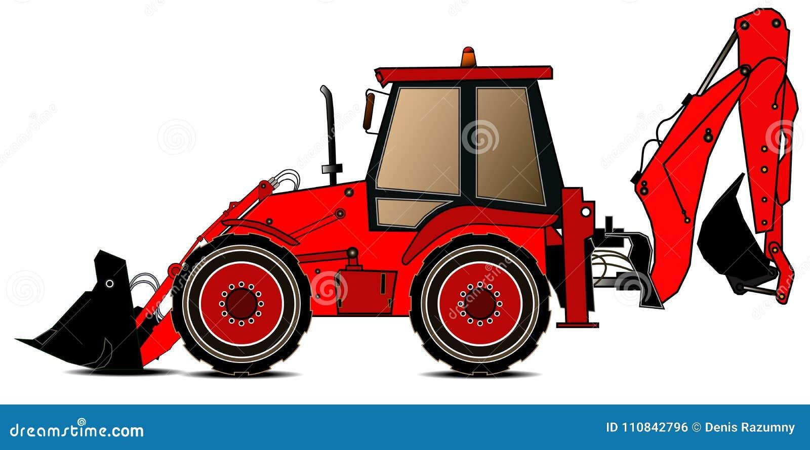 Красный затяжелитель backhoe на белой предпосылке белизна предмета машинного оборудования конструкции предпосылки изолированная з