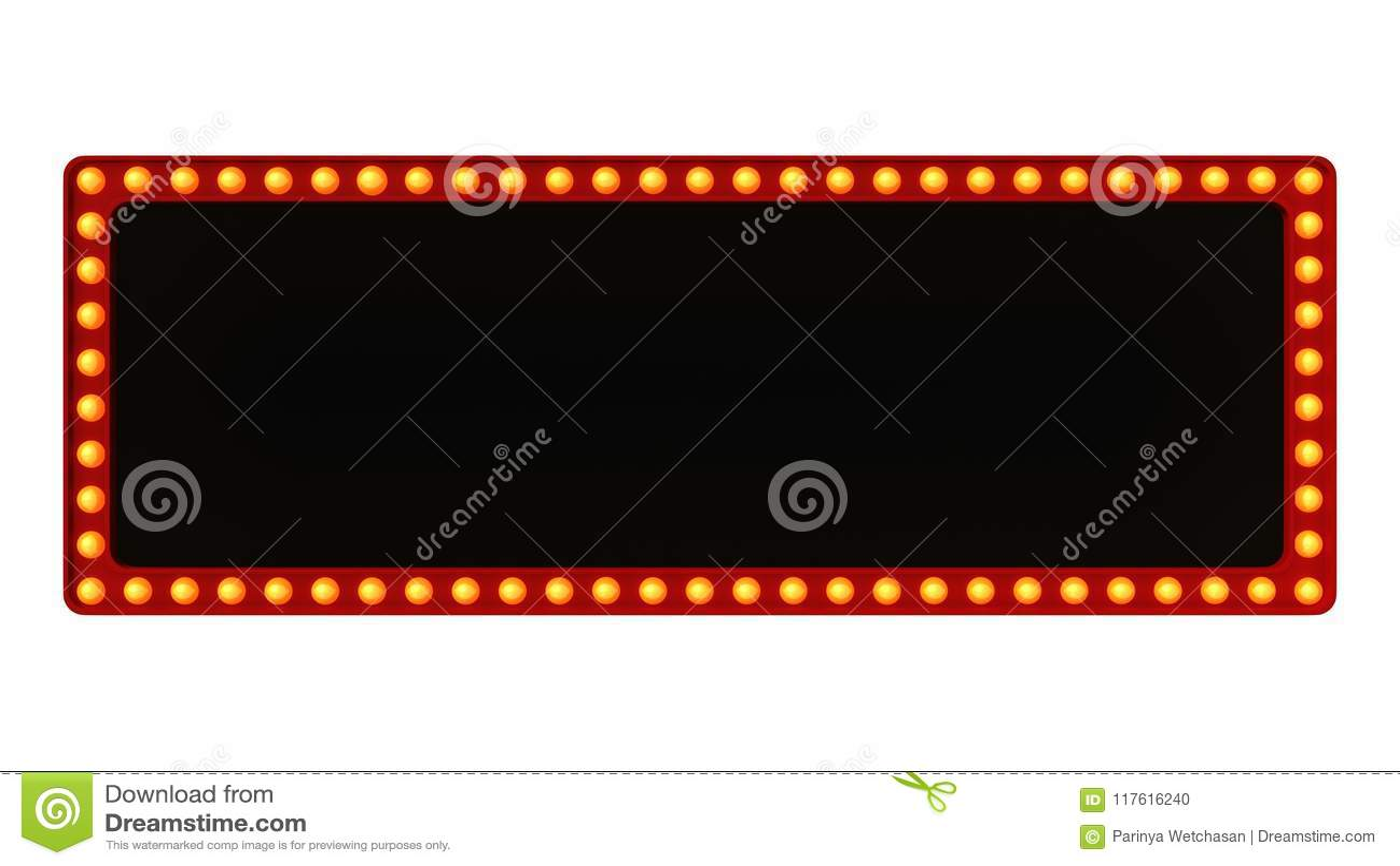 Красный знак доски света шатёр ретро на белой предпосылке перевод 3d
