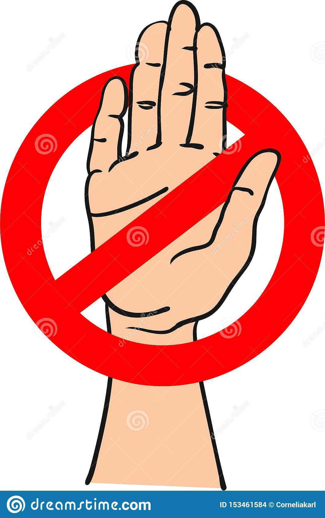 Красный знак стопа с рукой внутри сигнализировать стоп - иллюстрацию вектора руки вычерченную