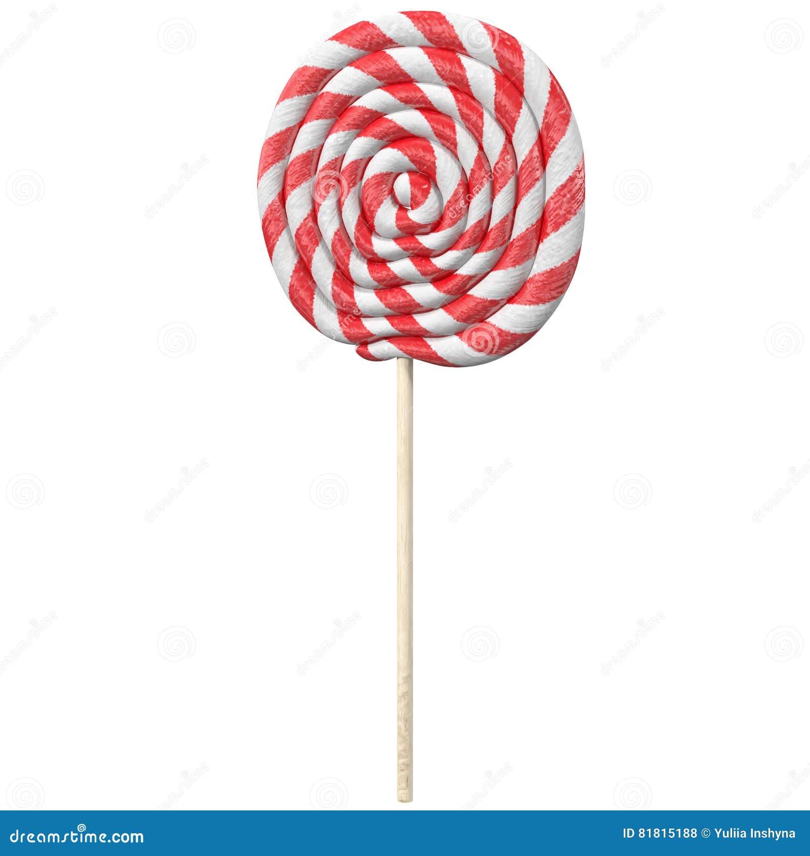 Красный и белый леденец на палочке 3d представляет