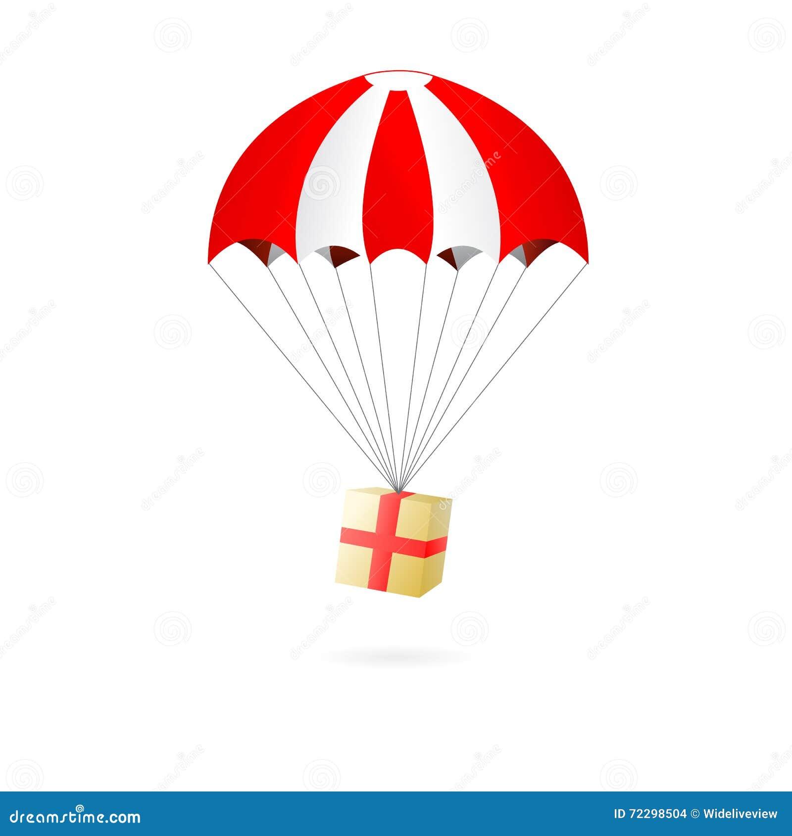 Download Красный и белый парашют с подарочной коробкой на белой предпосылке Иллюстрация вектора - иллюстрации насчитывающей обслуживание, перевозка: 72298504