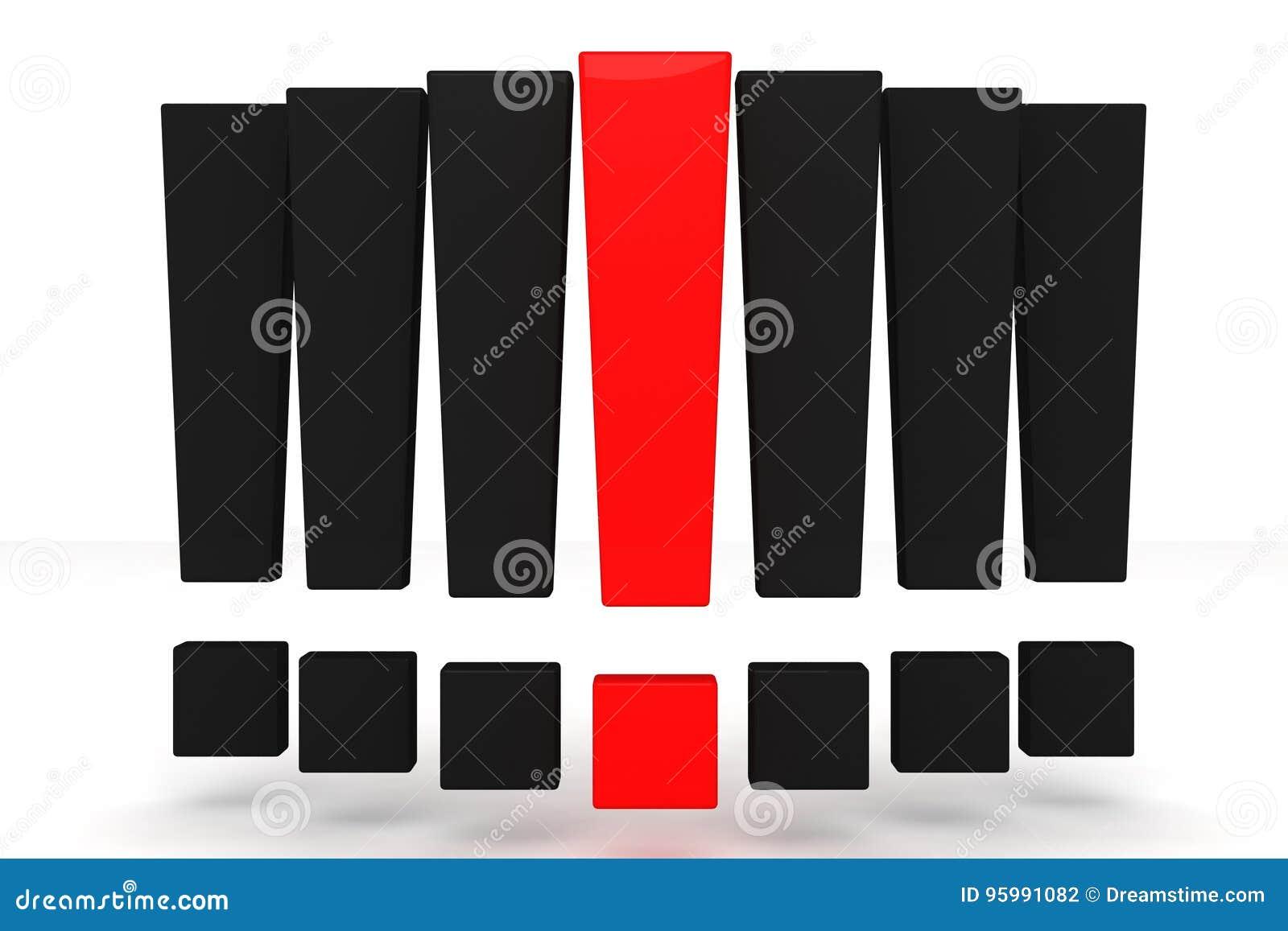 Красный и черный восклицательный знак