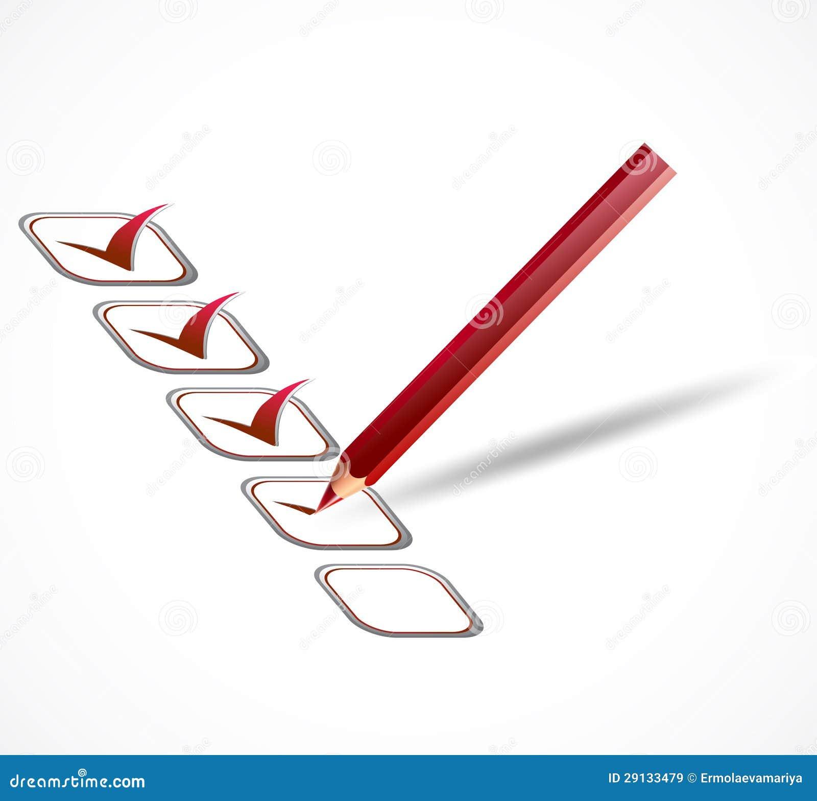 Красный контрольный список Вектор Иллюстрация вектора  Красный контрольный список Вектор