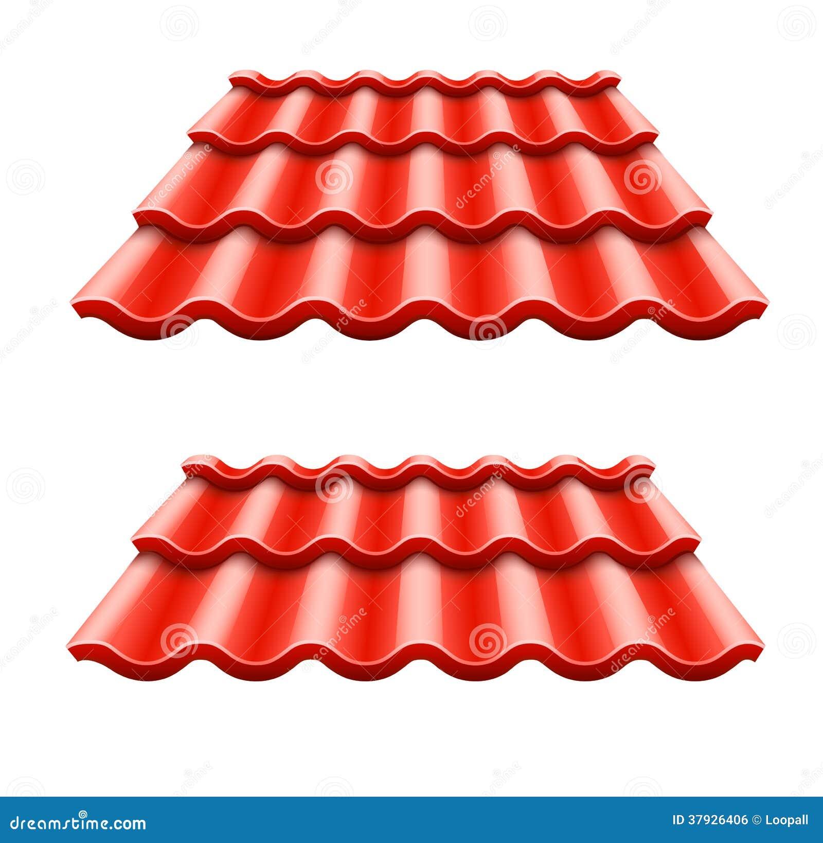 Красный рифлёный элемент плитки крыши