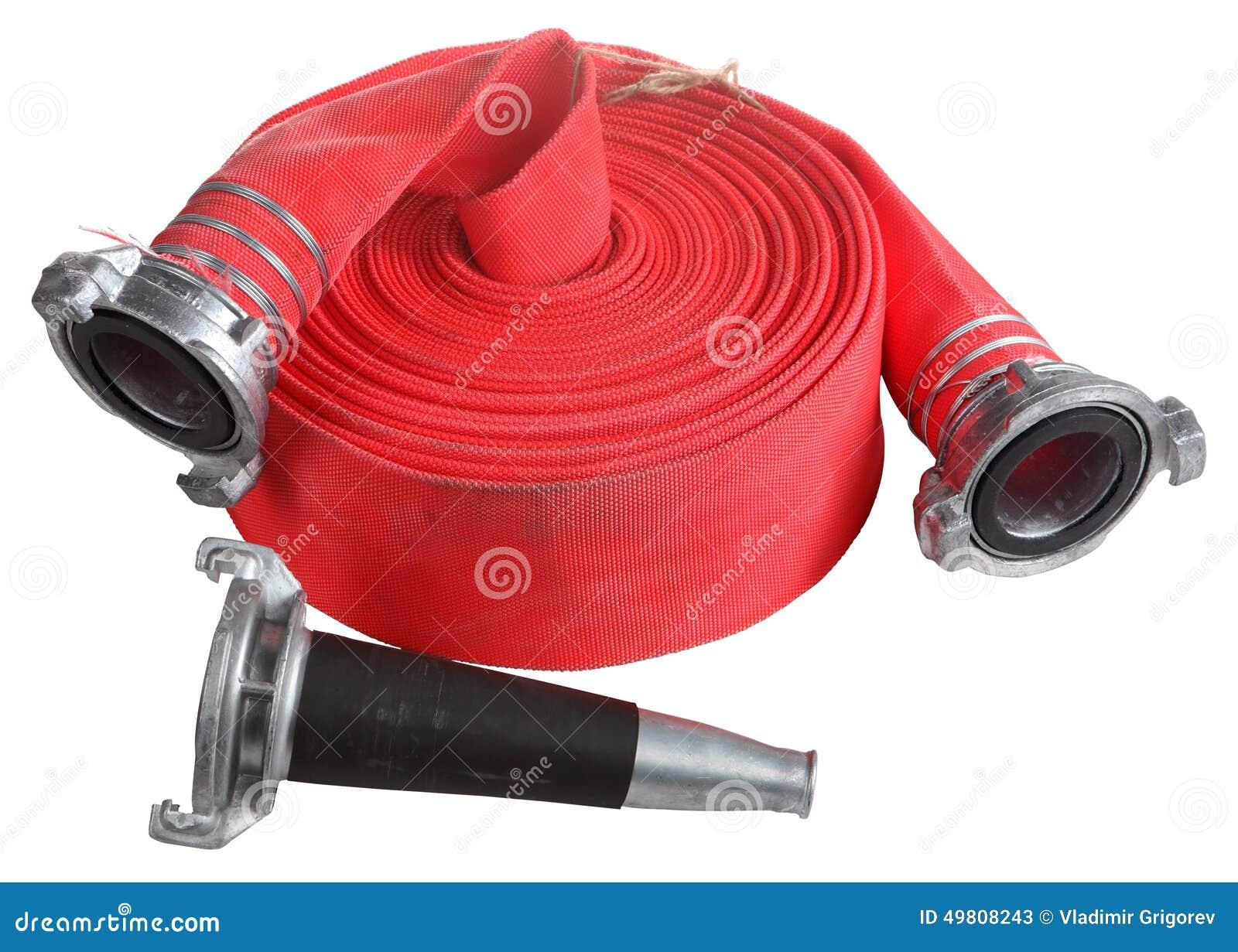 Красный ролик крена моталки пожарного рукава, с муфтой и соплом