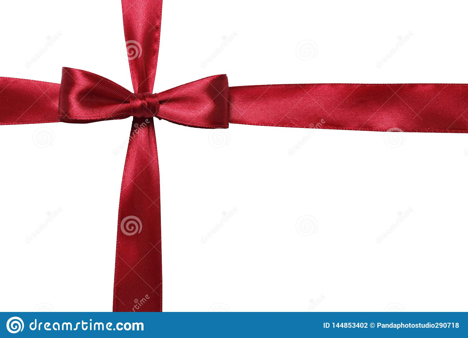 Красный смычок и лента изолированные на белой предпосылке