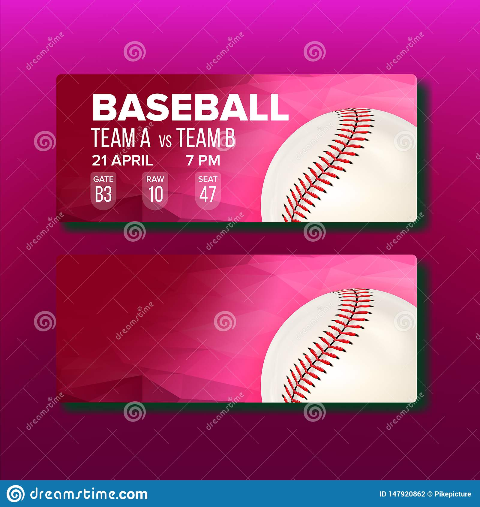 Красный талон для вектора шаблона бейсбольного матча посещения