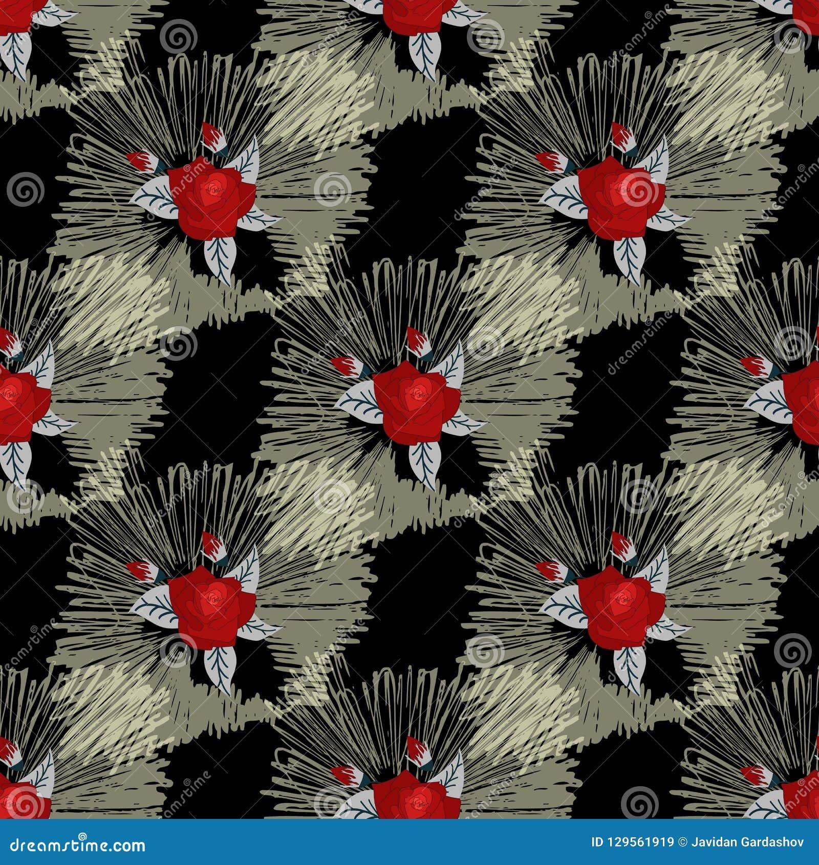 Красный цветок безшовный красивейшие цветки букета Нарисовано вручную