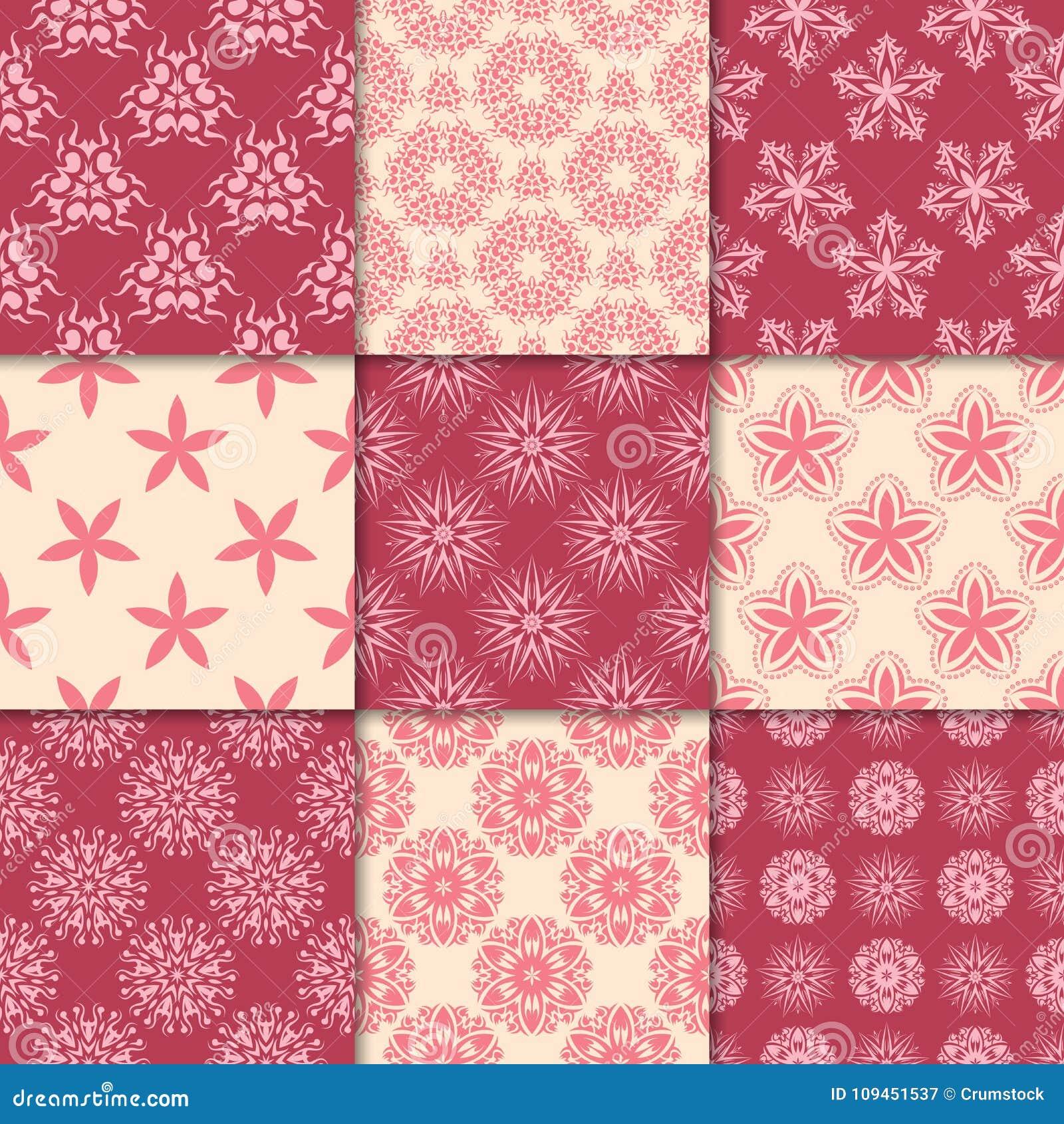 Красный цвет вишни и бежевые флористические орнаменты собрание делает по образцу безшовное