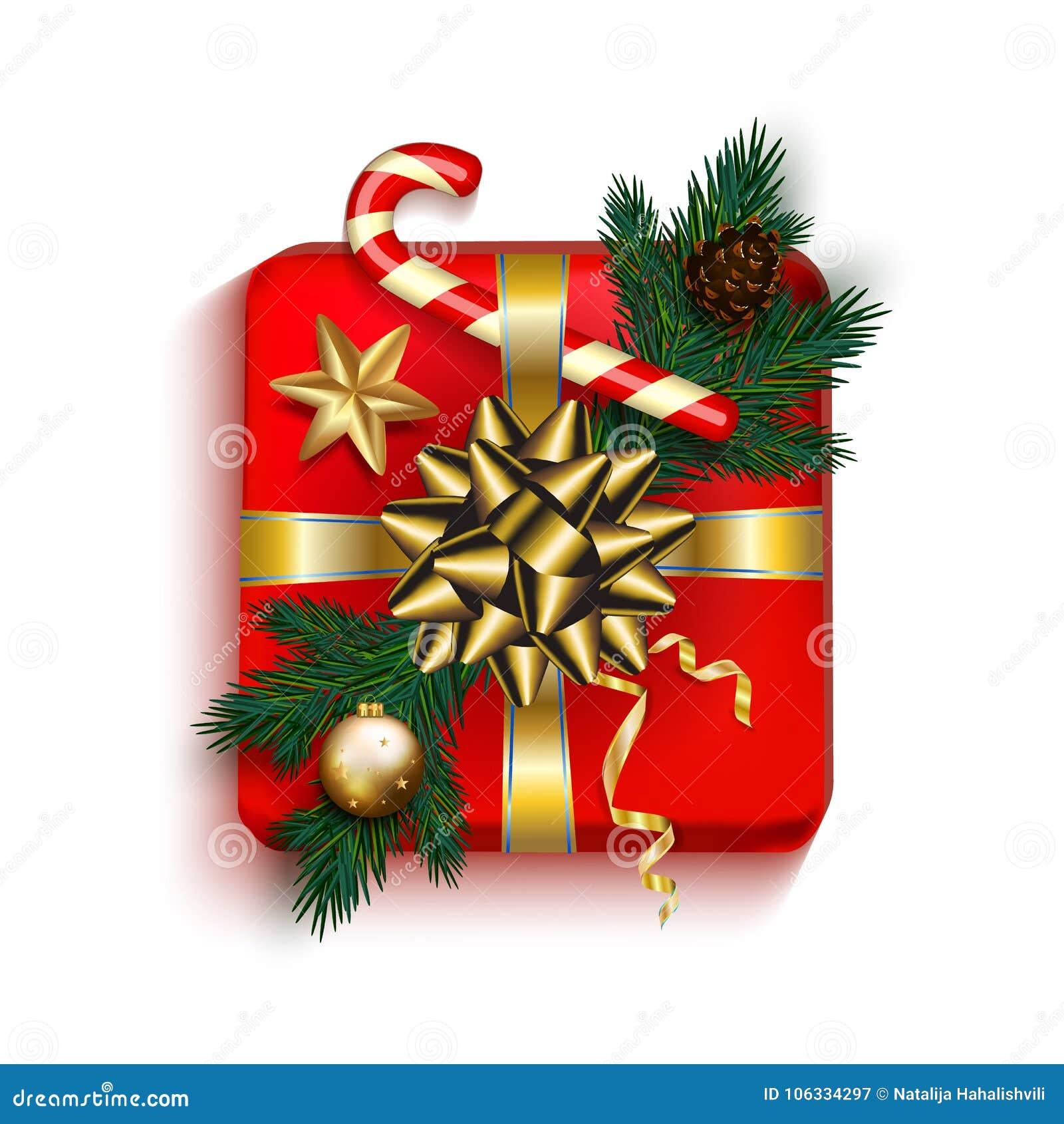 Красный цвет подарочной коробки рождества присутствующий в смычке ленты золота с елью,