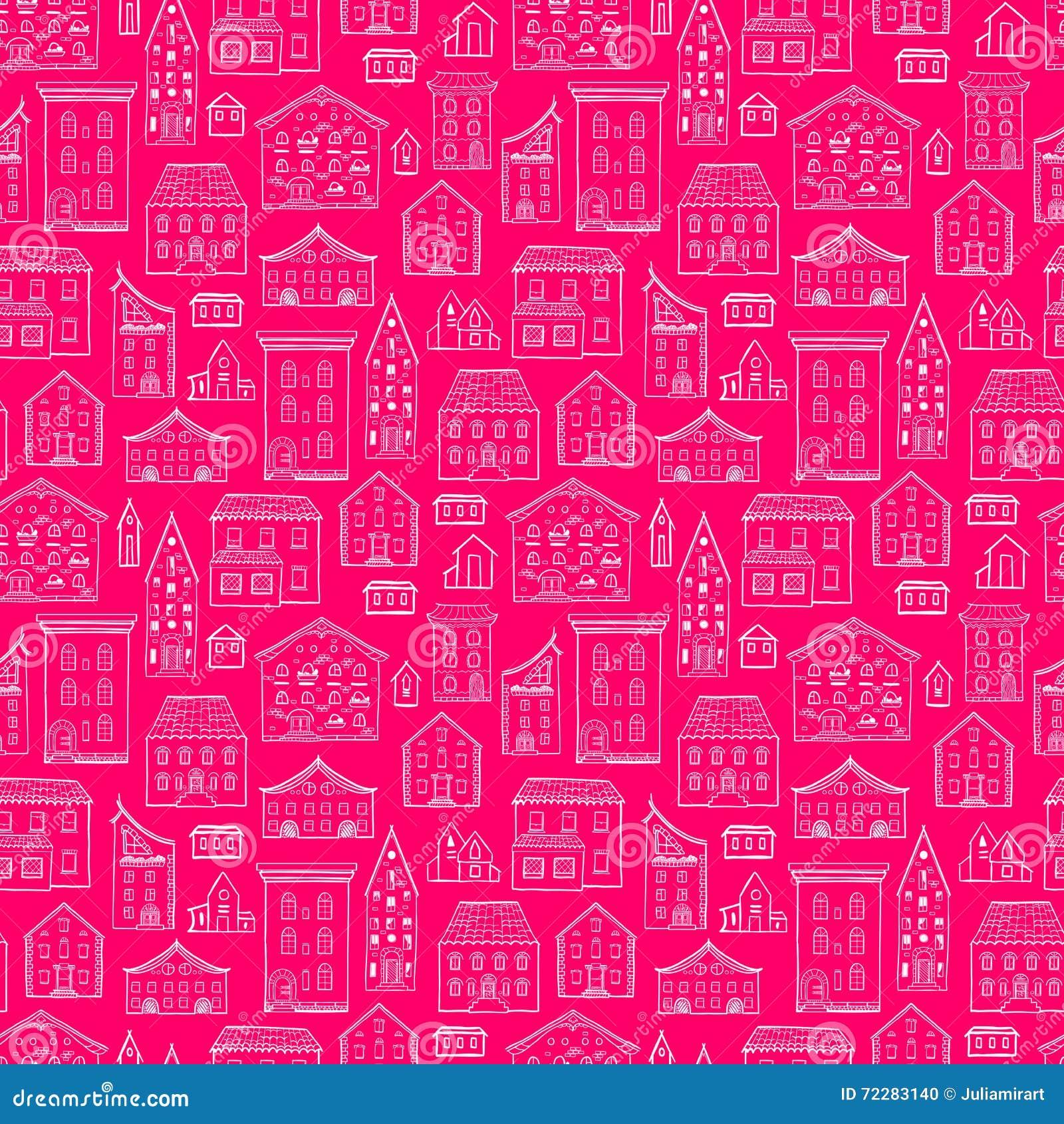 Download Красный цвет Lineart картины домов Иллюстрация вектора - иллюстрации насчитывающей художничества, дом: 72283140