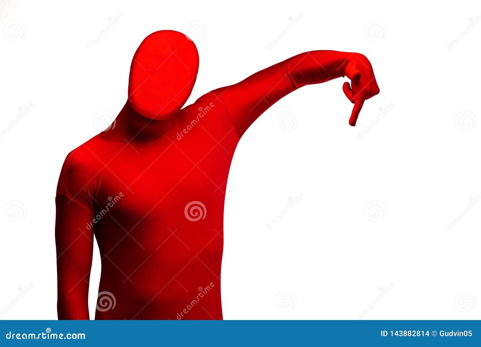 Красный человек указывая палец вниз Определяет направление Изолировано на белизне