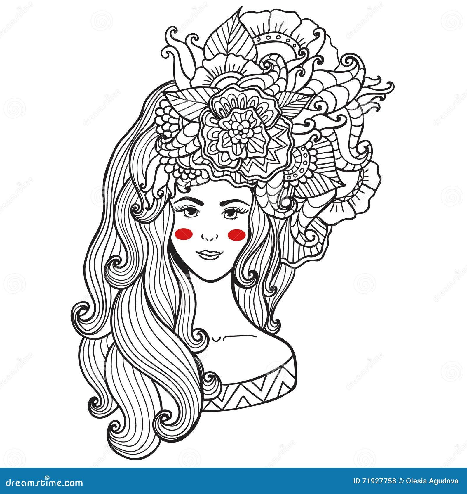 Красота и мода карточки иллюстрации вектора Девушка с цветками на ее голове Zentangl, dudling Взрослые книжка-раскраски