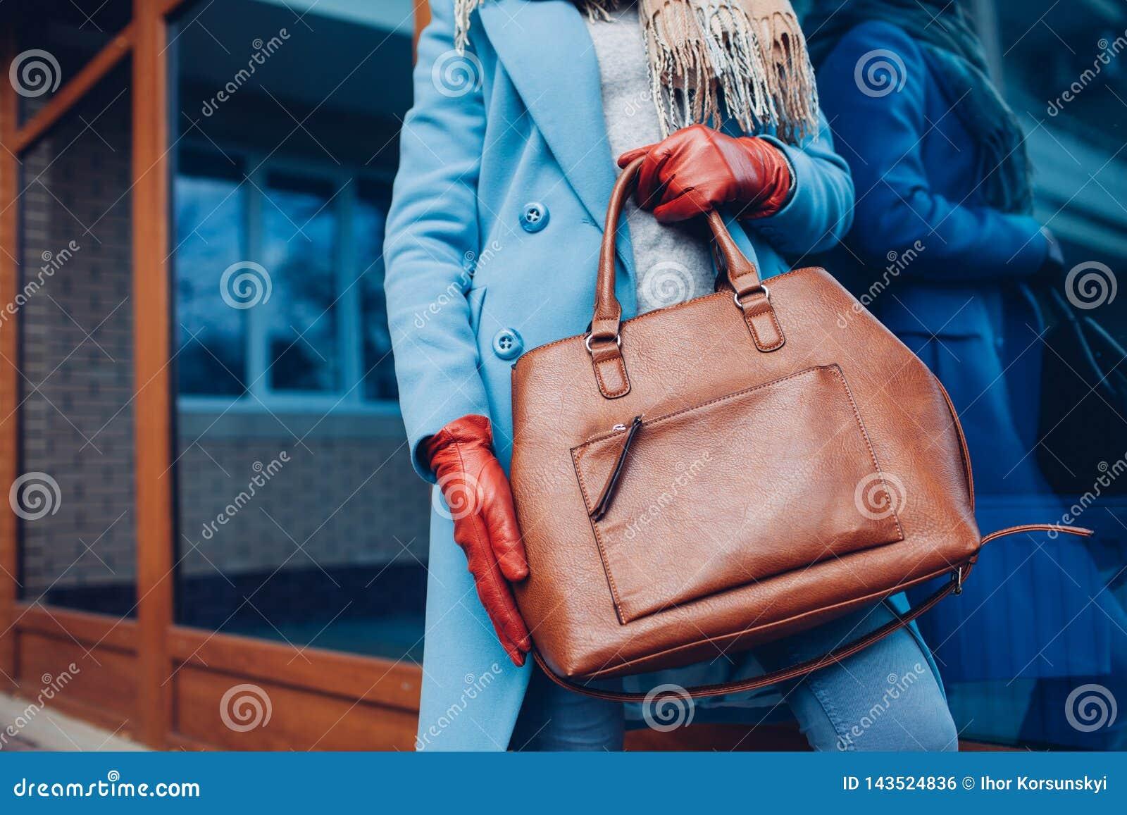 Красотка и способ Стильное пальто и перчатки модной женщины нося, держа коричневую сумку сумки