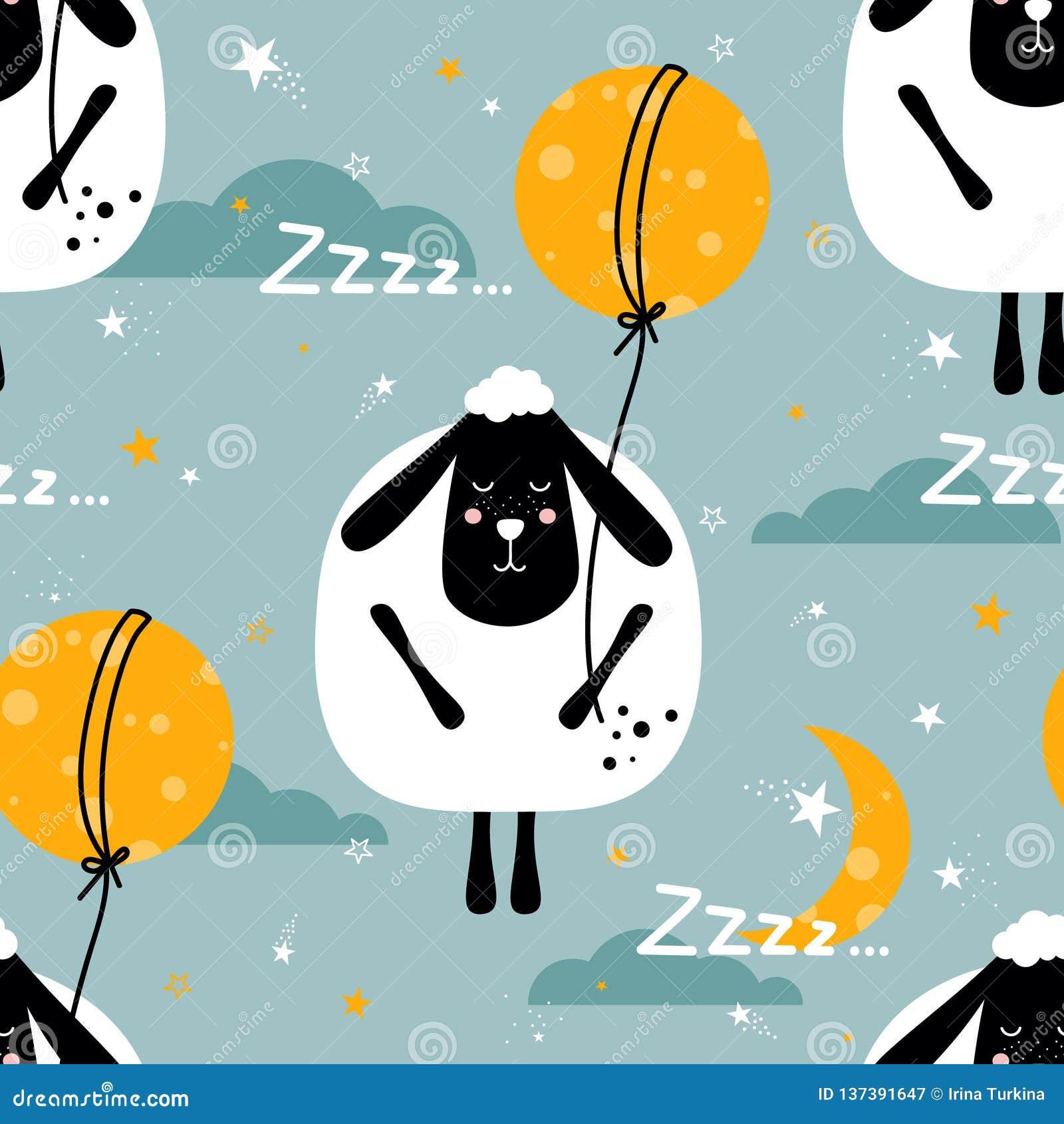 Красочная безшовная картина с овцами, луна, звезды, облака