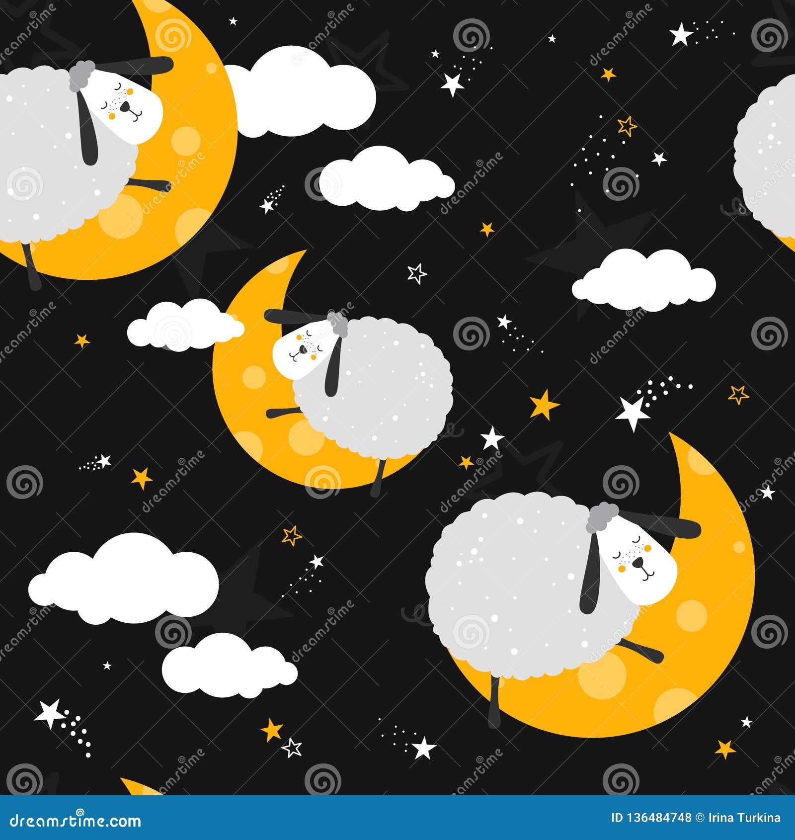 Красочная безшовная картина с овцами, луна, облака, звезды