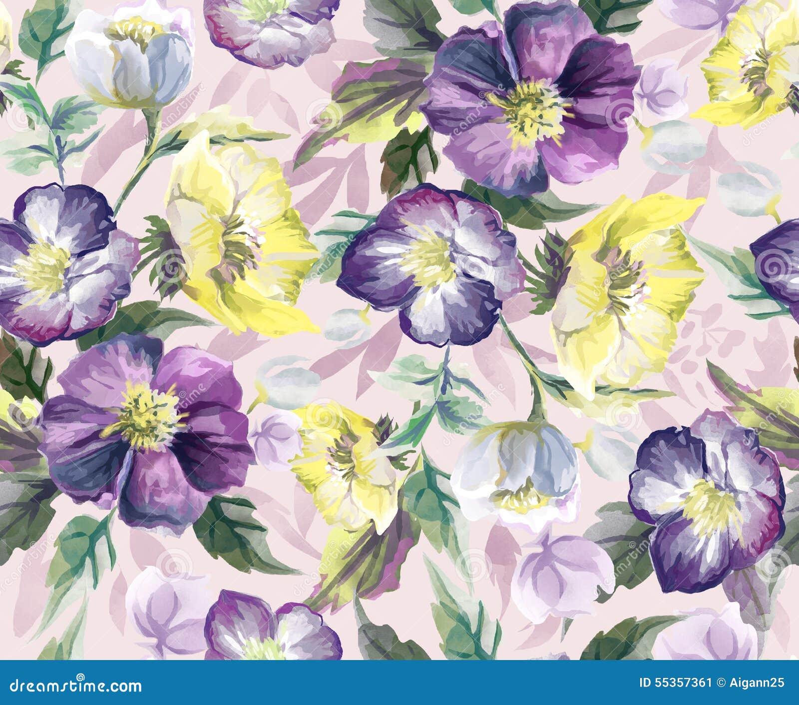Красочная безшовная картина цветков акварель