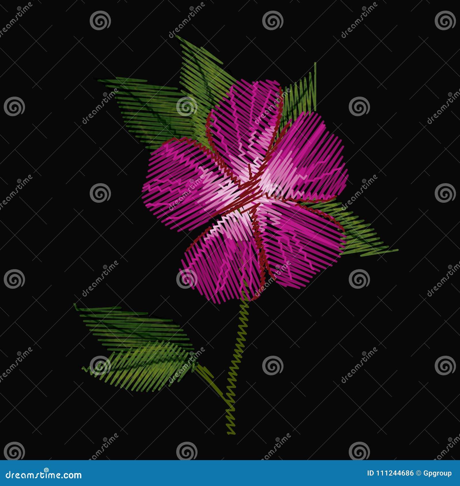 Красочная вышивка завода цветка азалии в черной предпосылке