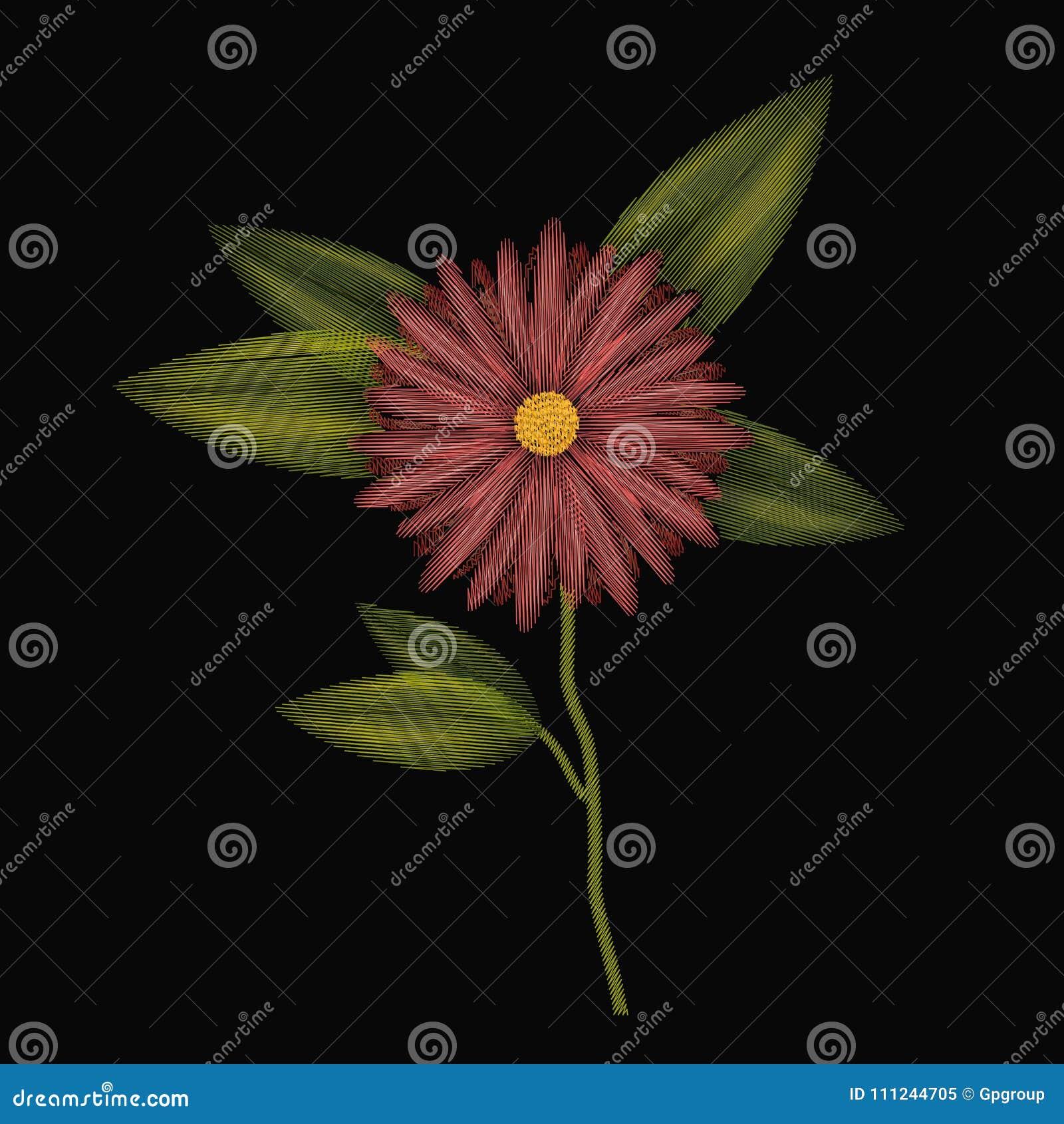 Красочная вышивка завода цветка ноготк в черной предпосылке