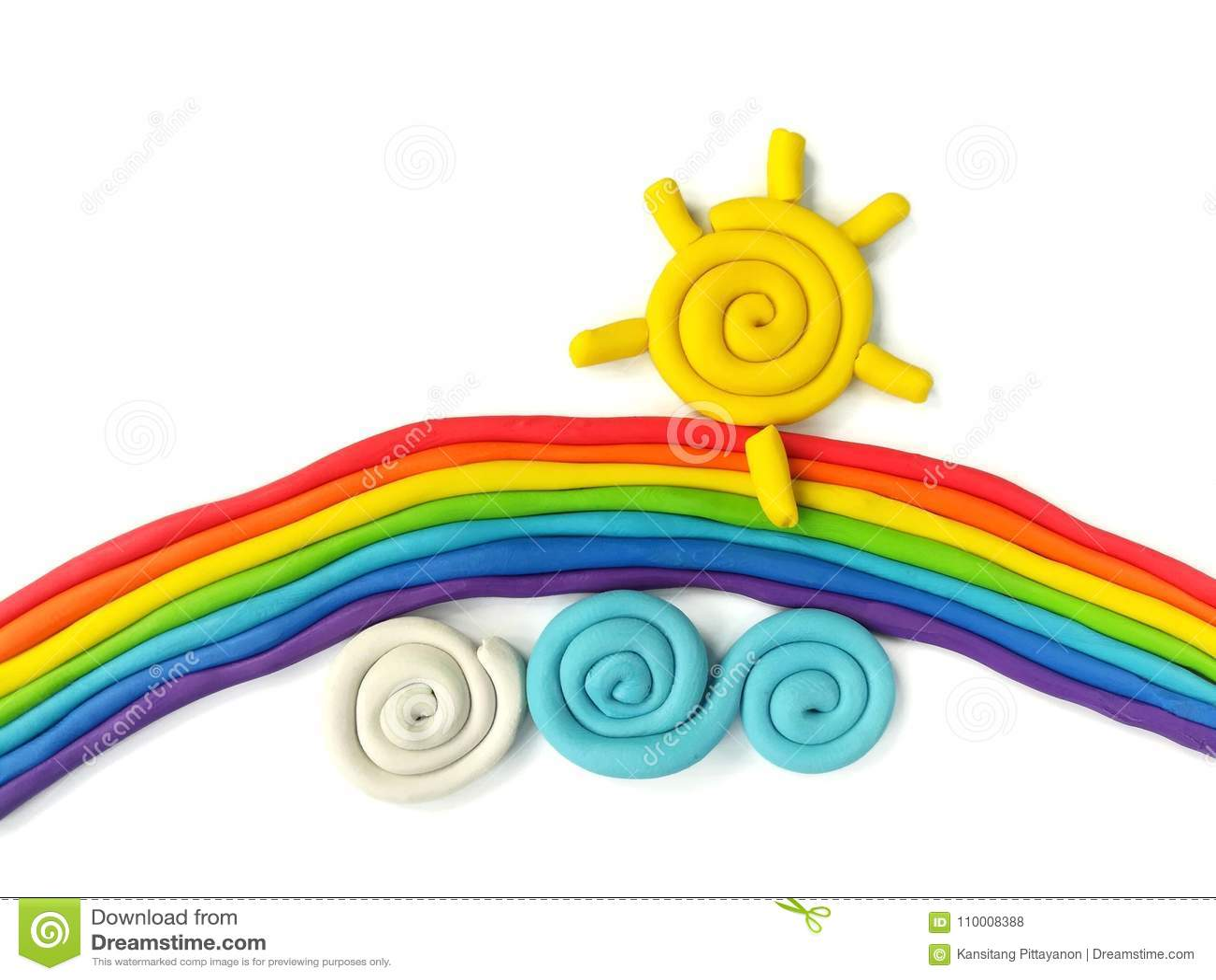 Красочная глина пластилина солнца облака радуги, handmade красивое тесто неба
