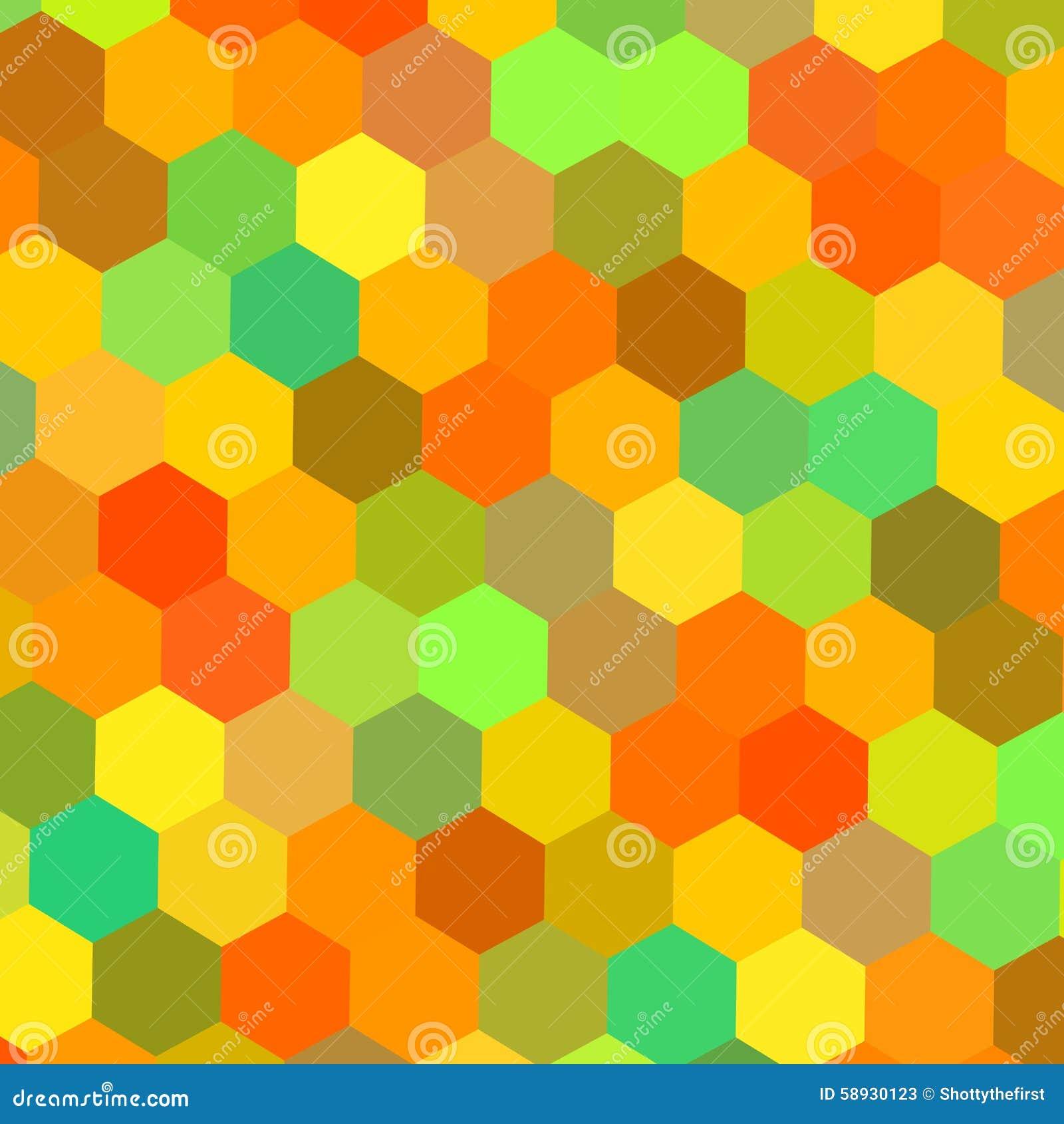 Красочная иллюстрация шестиугольников Искусство цвета Теплое смешивание цвета Матрица техника Графики заголовка вебсайта Счастлив