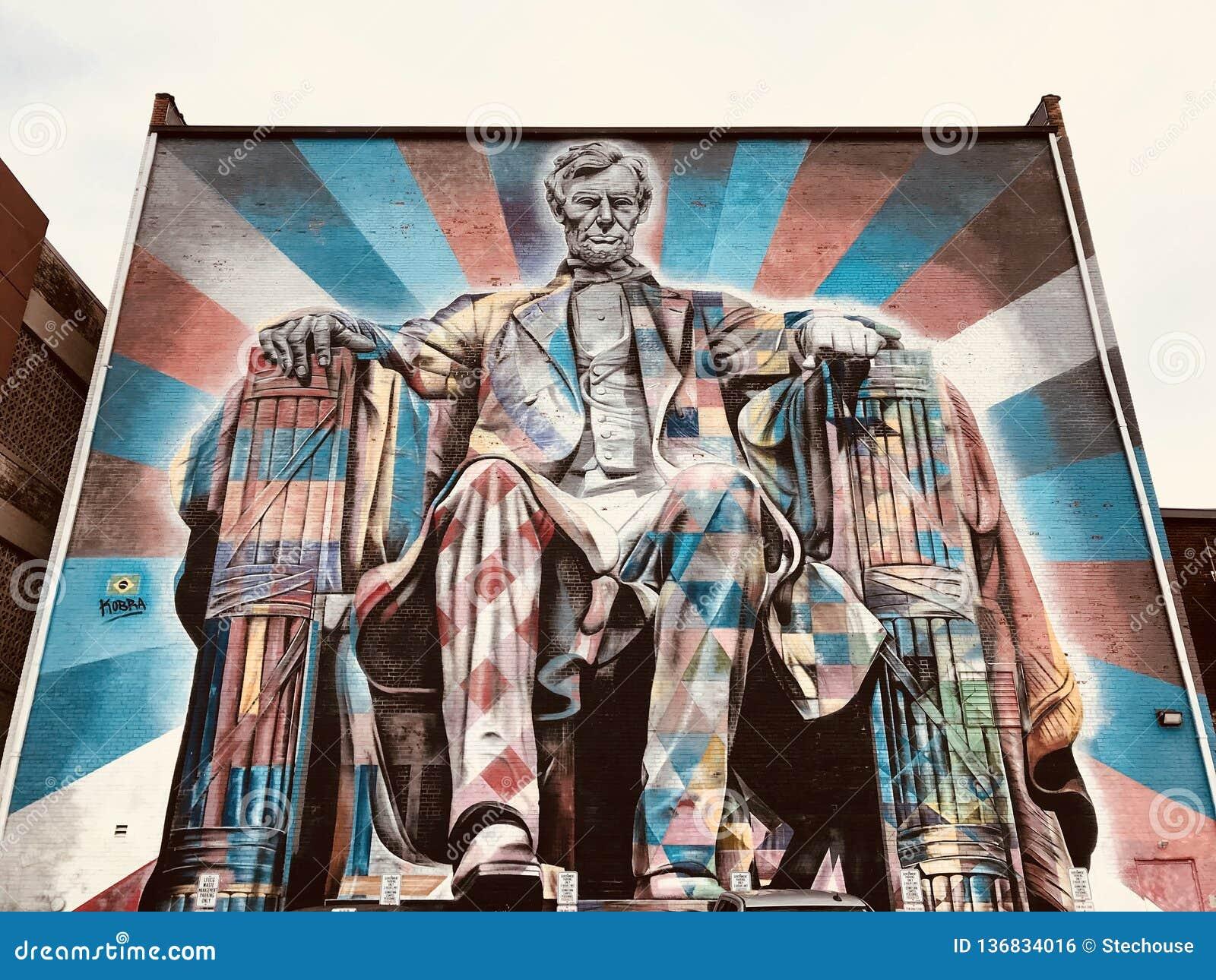 Красочная настенная роспись Авраама Линкольна - LEXINGTON - КЕНТУККИ