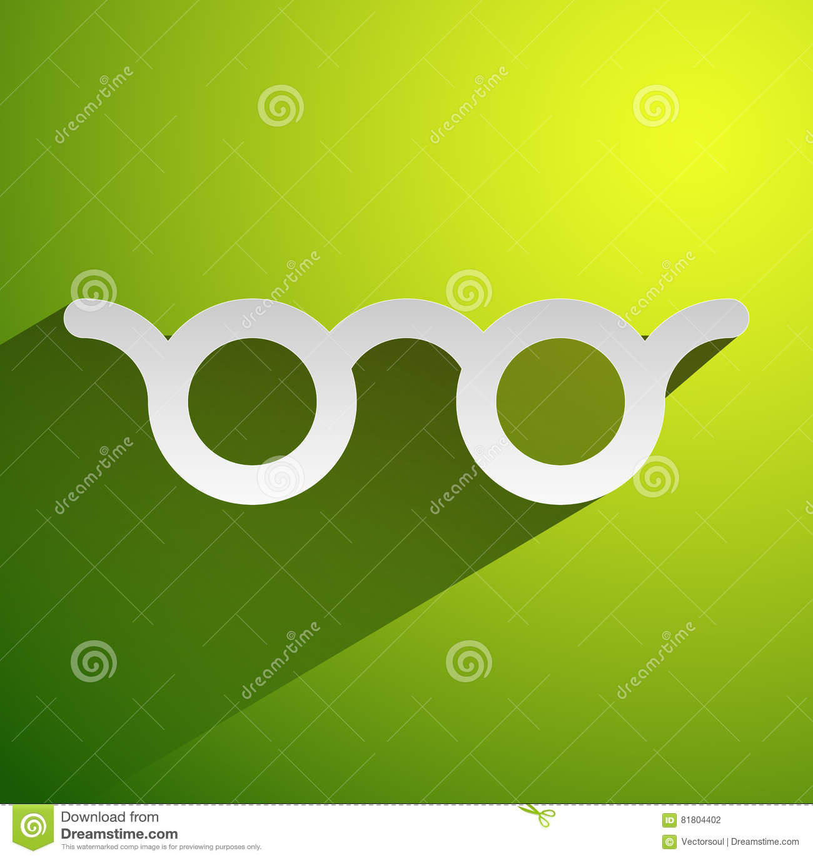 Красочное зрение стекел, optician, значок концепции optometry