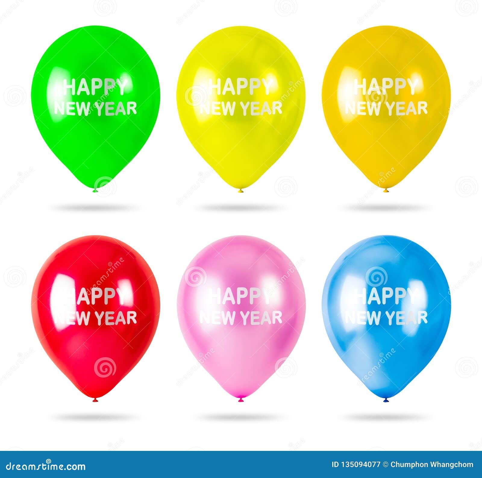Красочные воздушные шары со счастливым текстом Нового Года изолированным на белой предпосылке Украшения партии