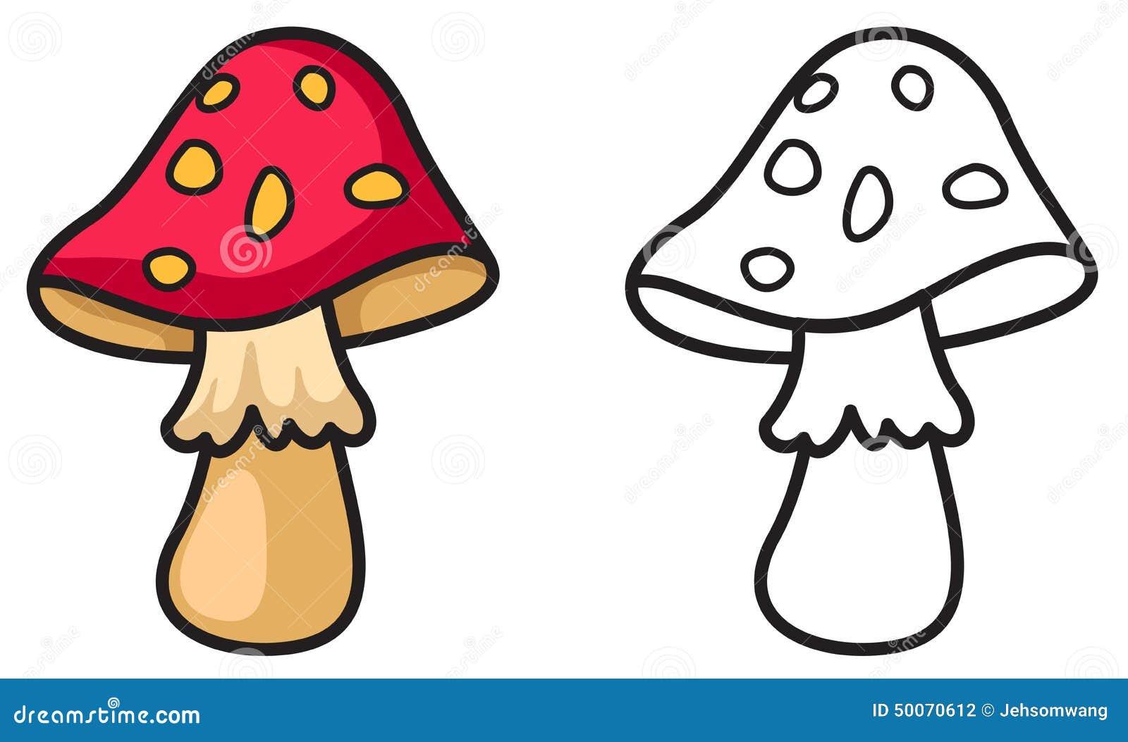 картинка черно-белая гриб